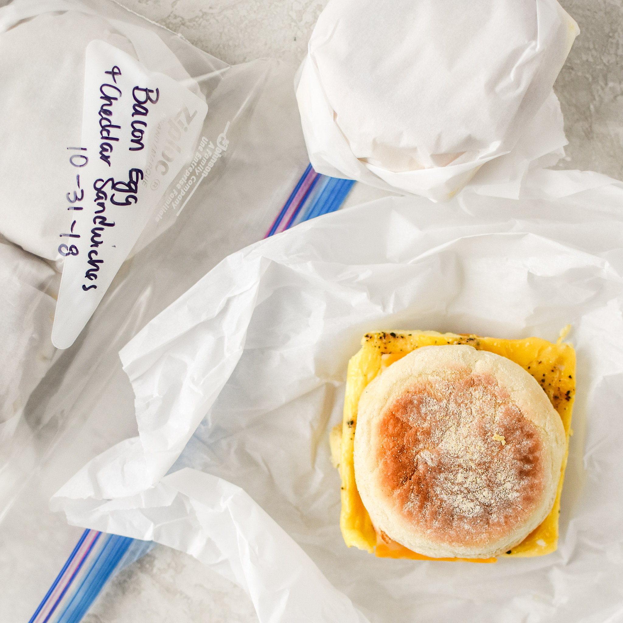 Make-ahead bacon breakfast sandwiches ready for the freezer.
