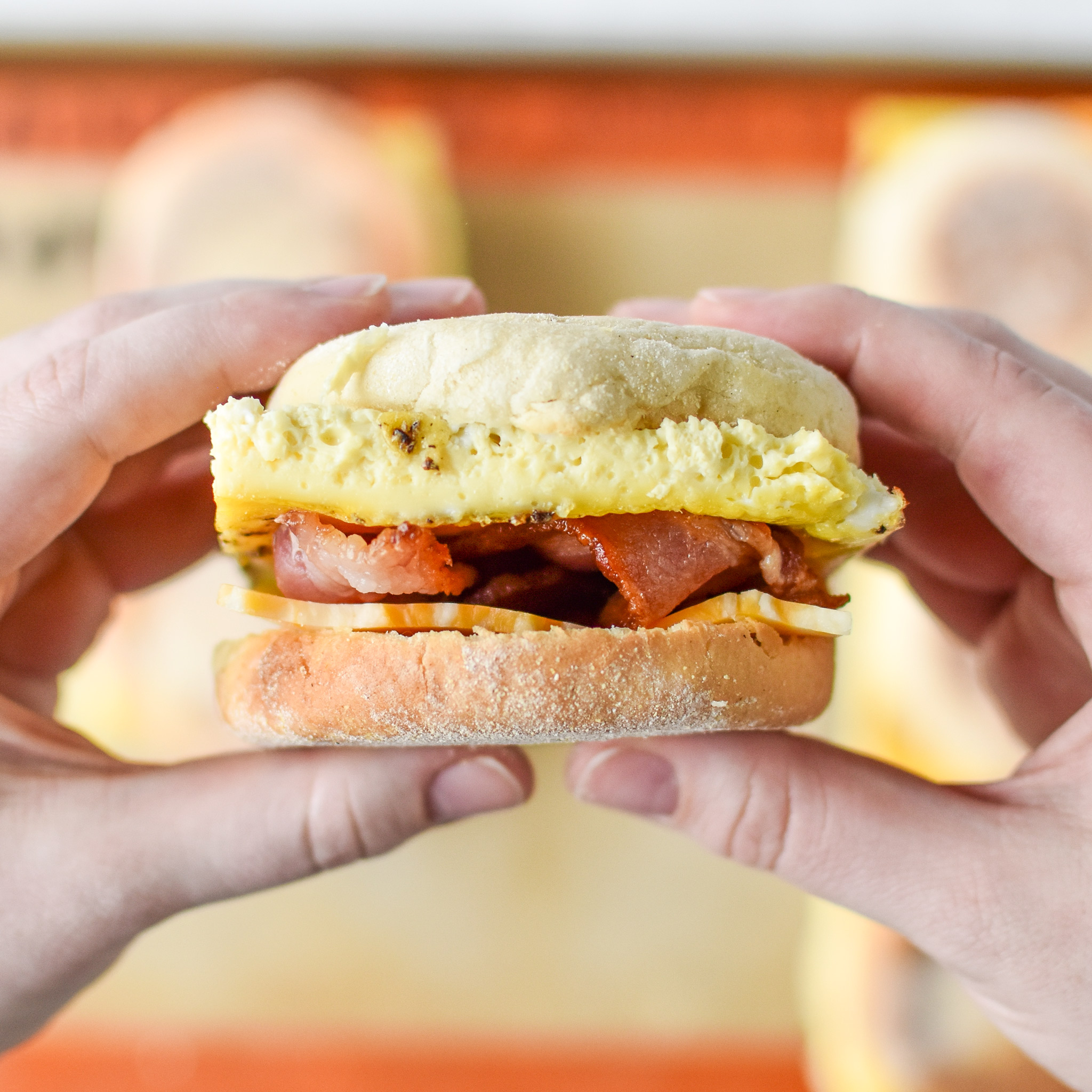 So ready to take a bite of this Make-Ahead Bacon Breakfast Sandwich!