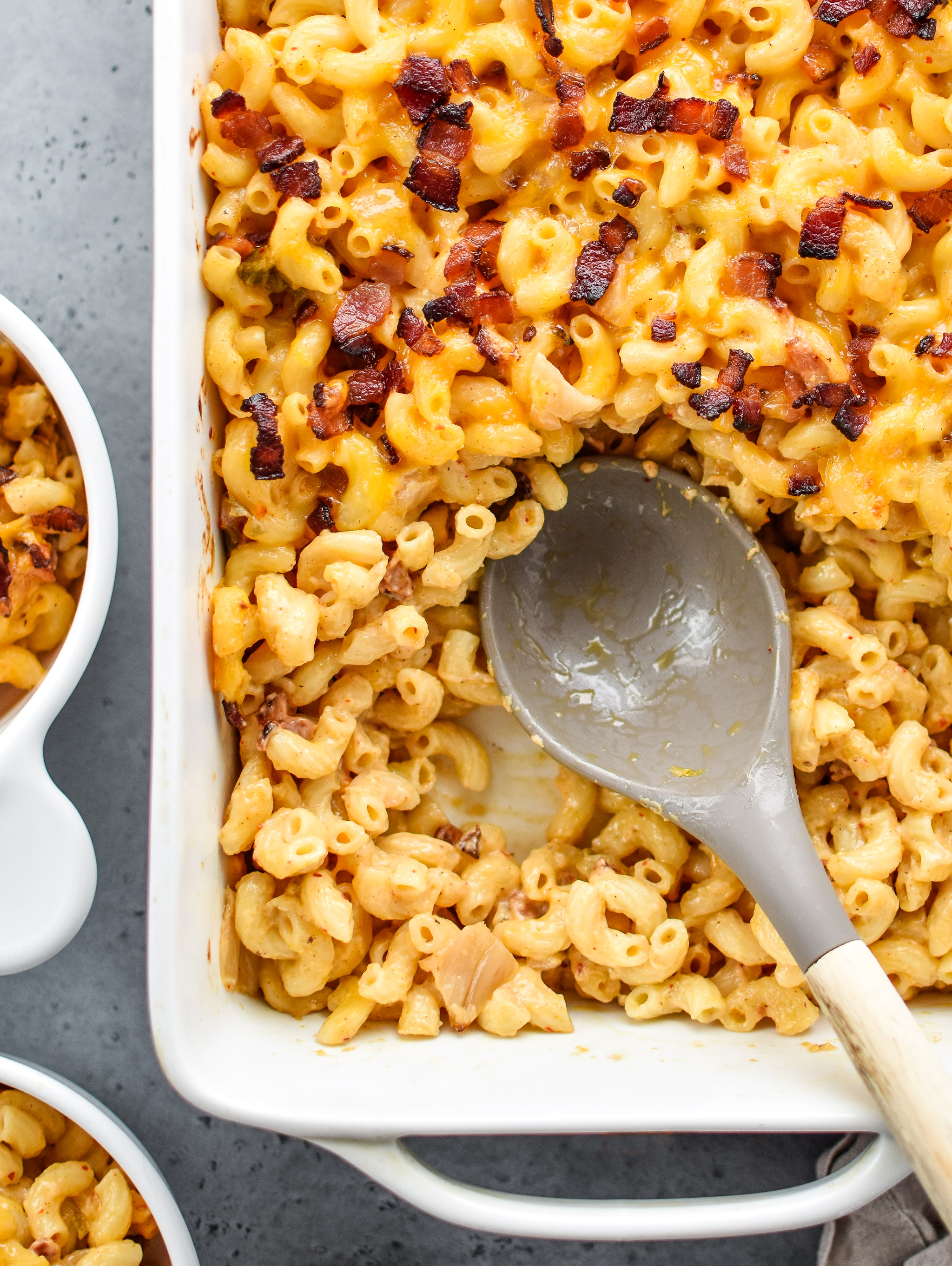Homemade Kimchi Bacon Greek Yogurt Mac and Cheese