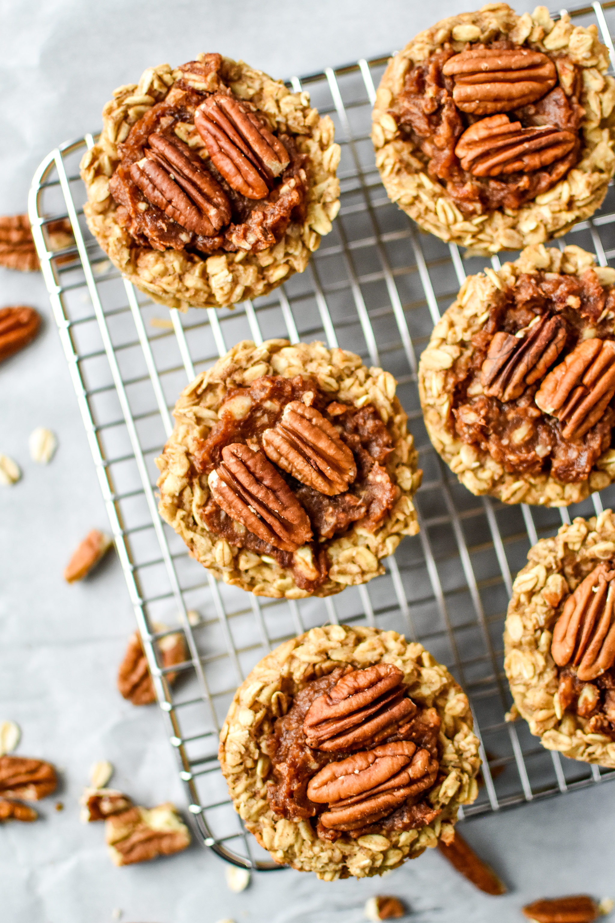 Pecan Pie Stuffed Oatmeal Breakfast Cups fresh from the oven