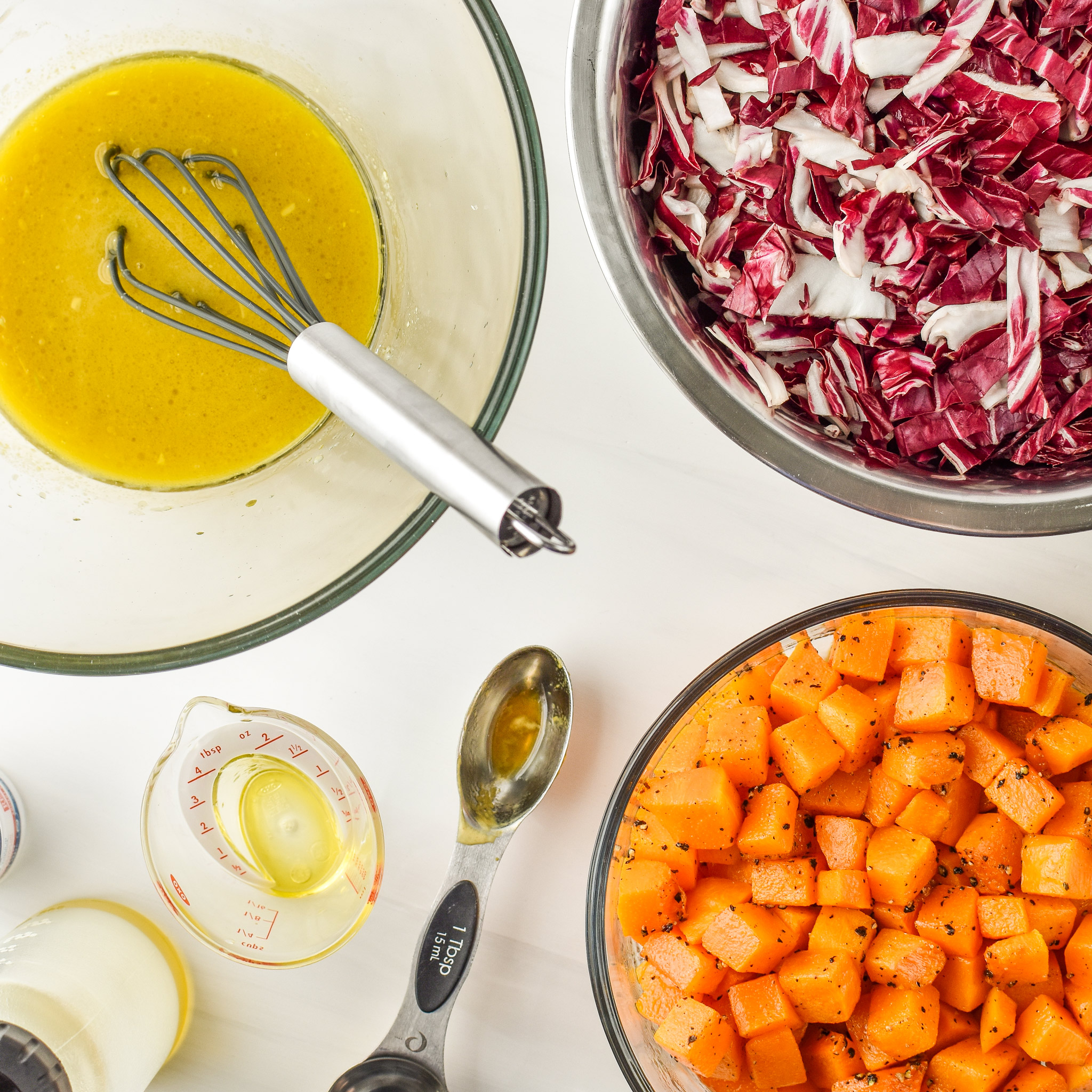 All of the ingredients for the Radicchio and Roasted Squash Salad