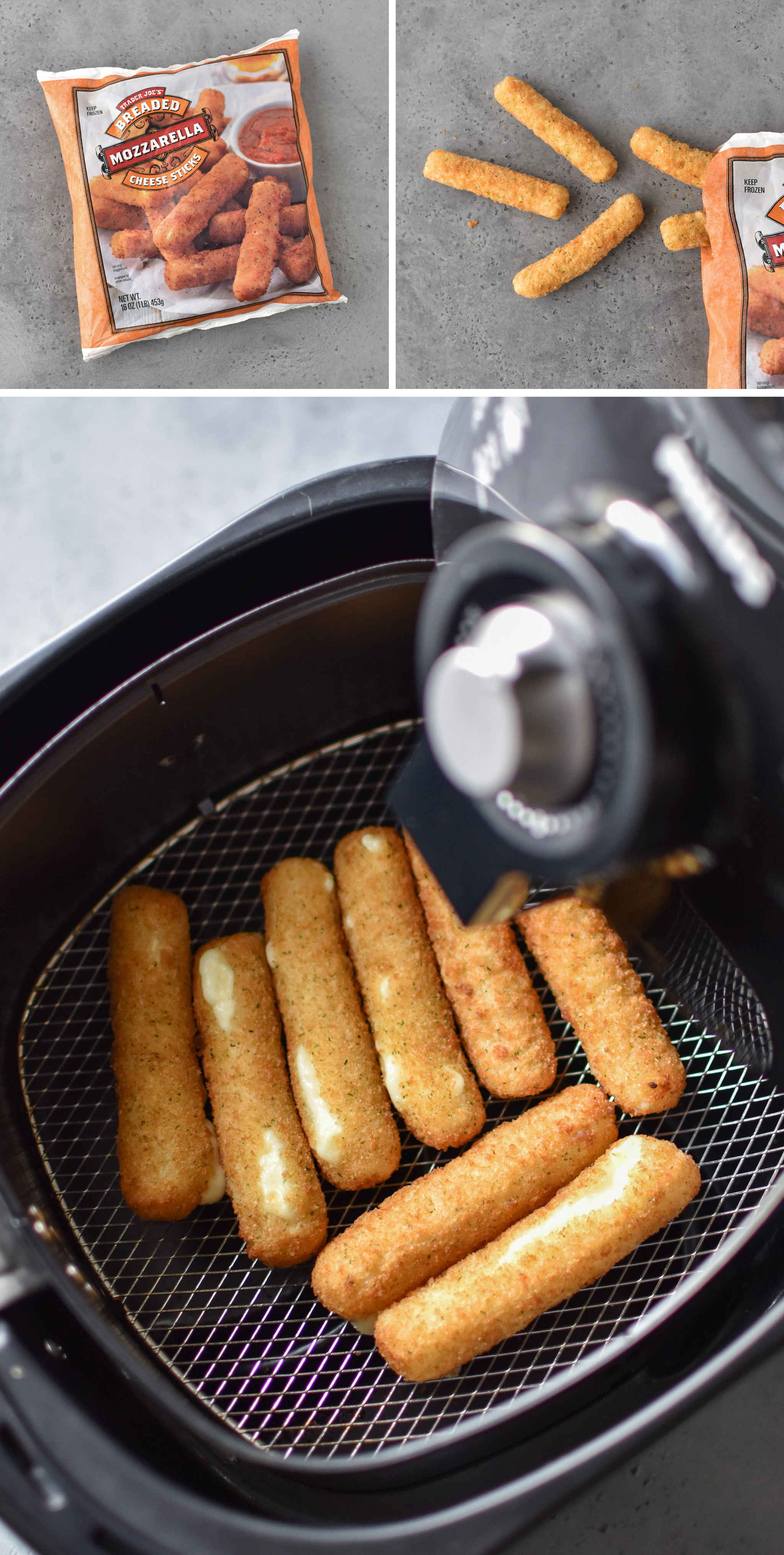 Mozzarella sticks made in the air fryer