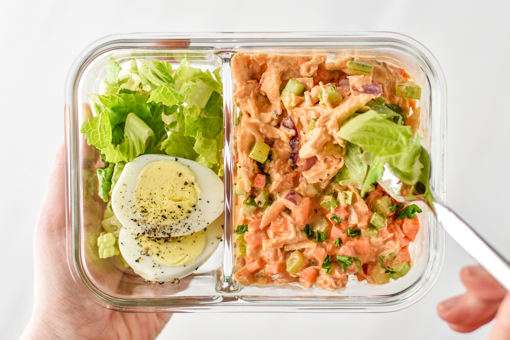 Meal prepped easy buffalo chicken salad