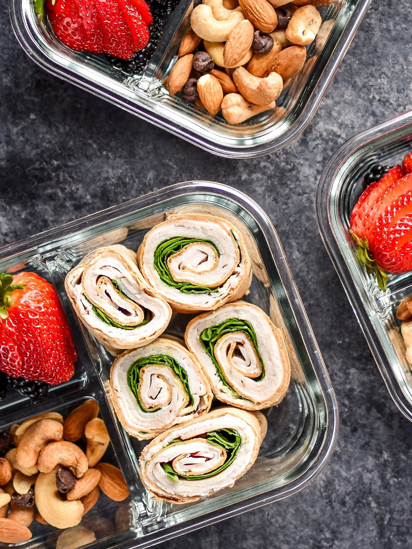 Turkey pinwheels prepped for lunches, a meal prep lunch recipe