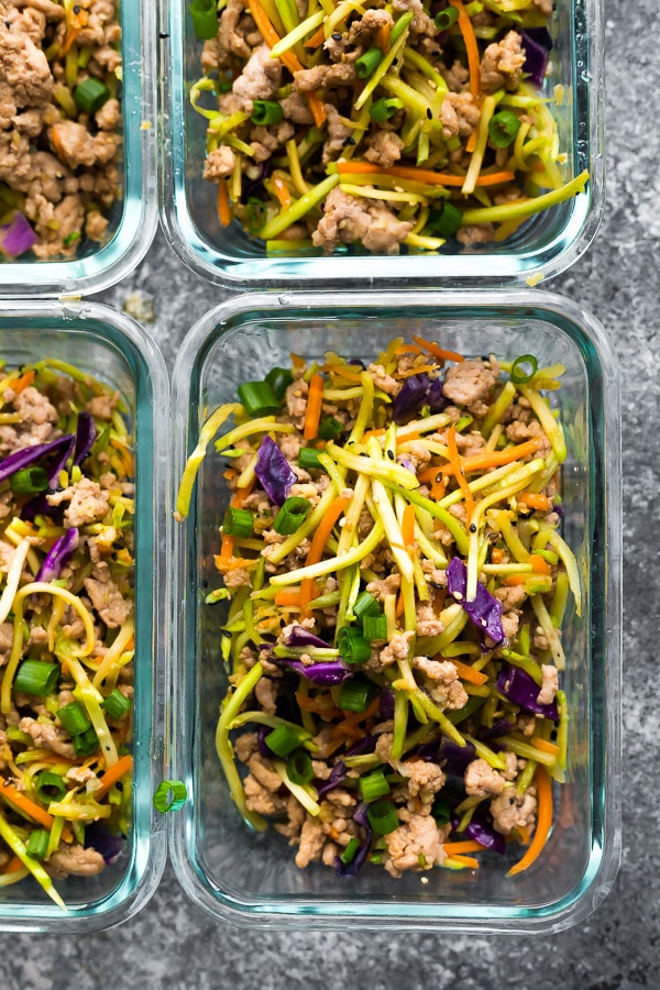 Egg Roll in a Bowl meal prepped into portions in glass containers. Meal Prep Lunch Recipes