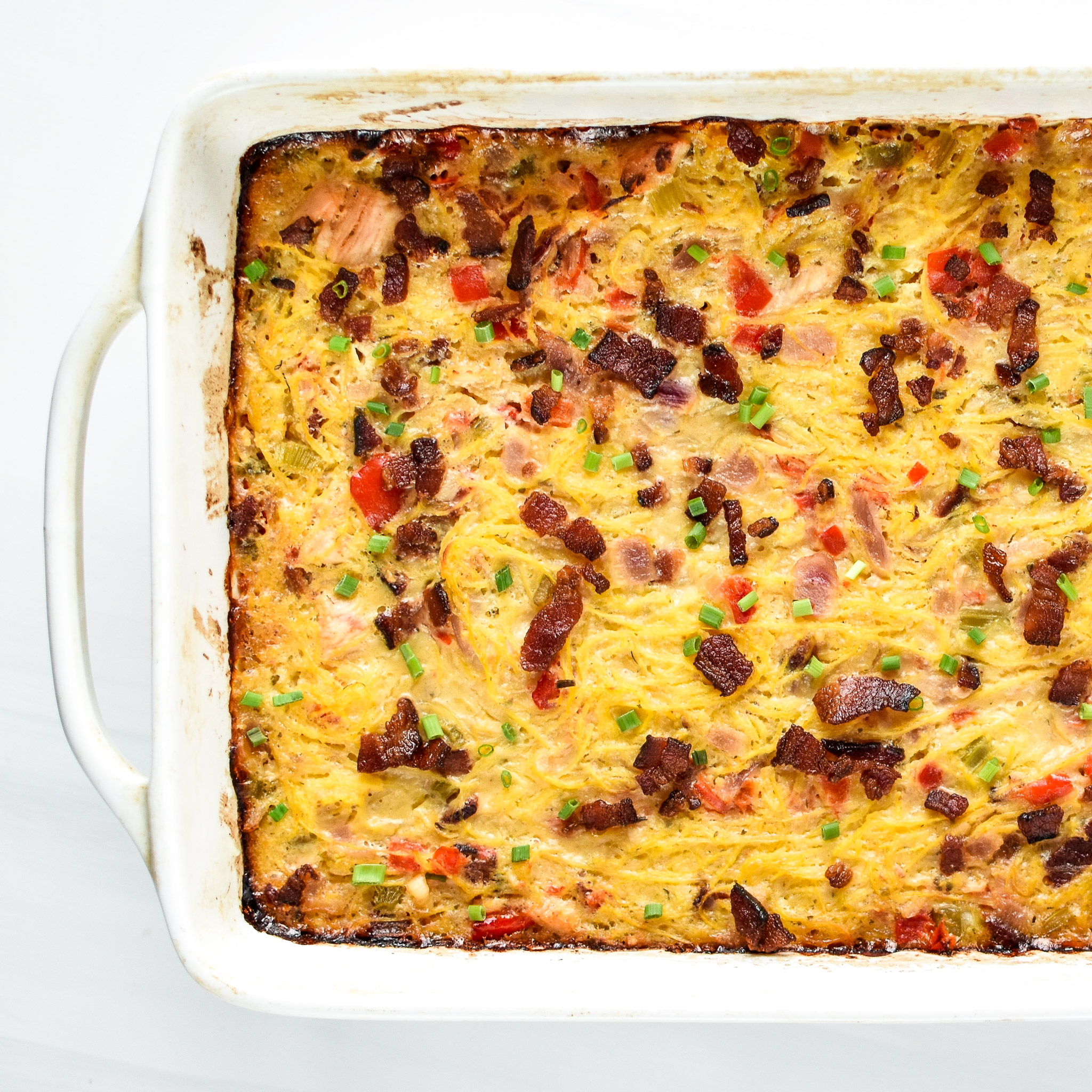 Whole30 Chicken Bacon Ranch Casserole fresh from the oven.