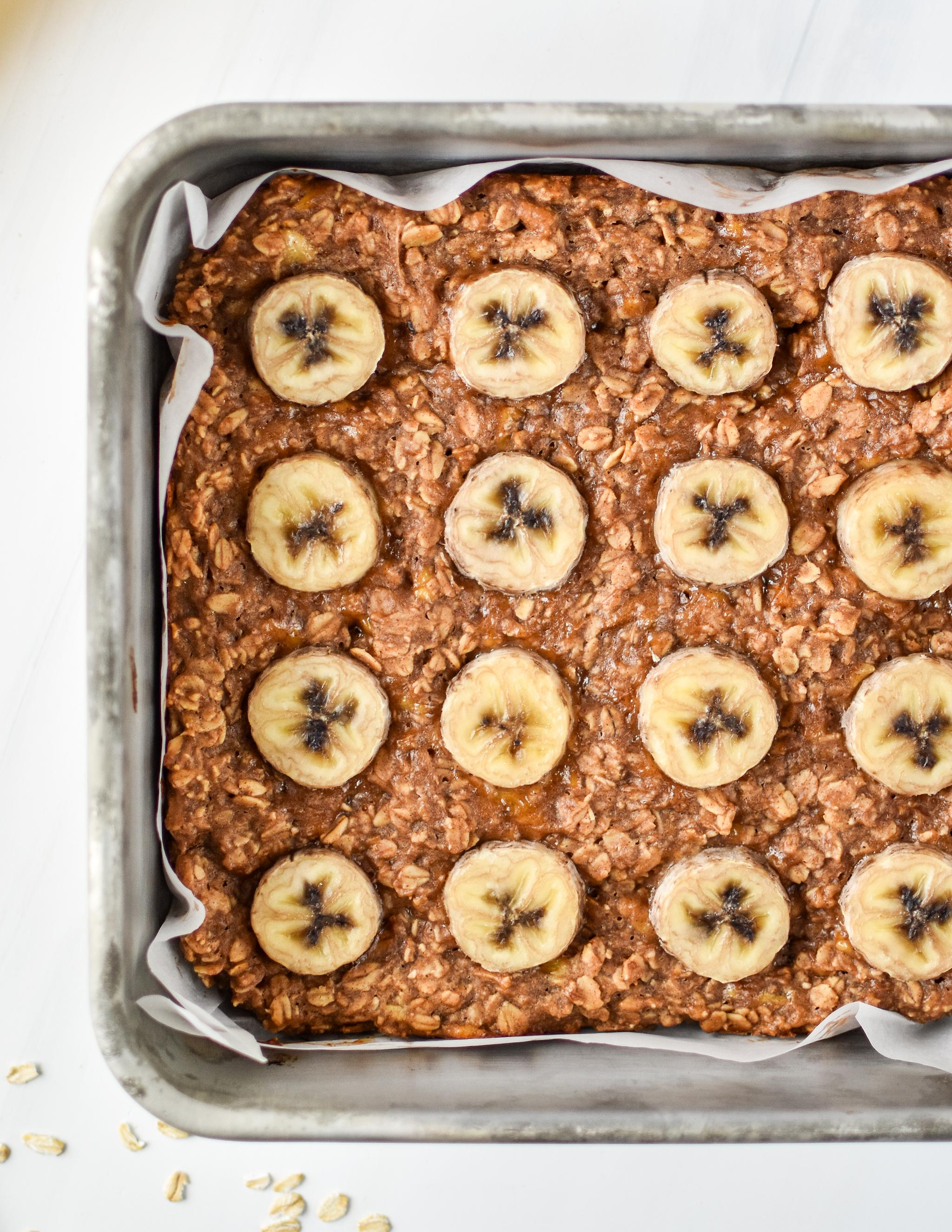 Fresh from the oven before being cut - PB Banana Oatmeal Breakfast Bars.