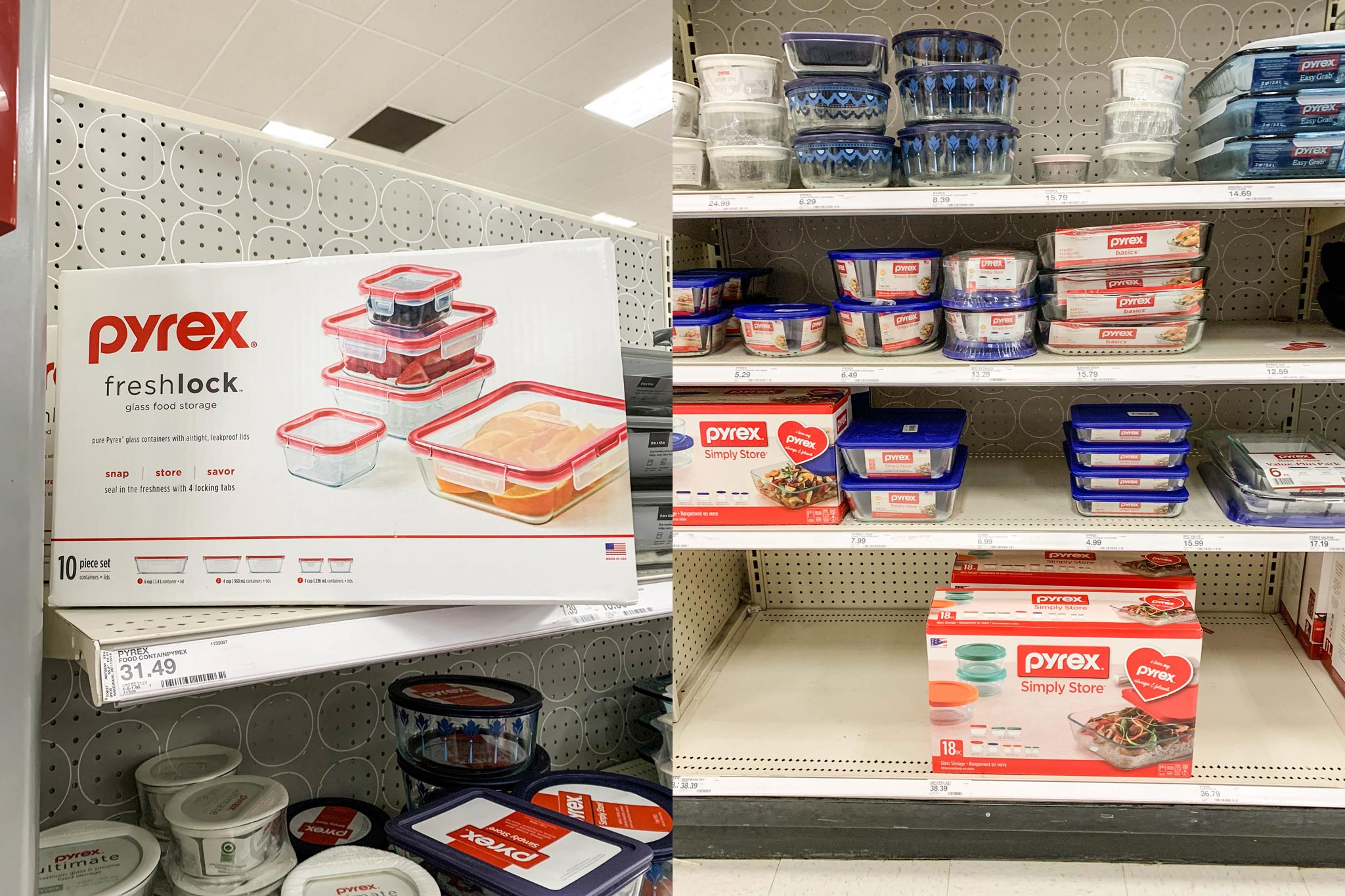 Some Pyrex containers available at my local Target.