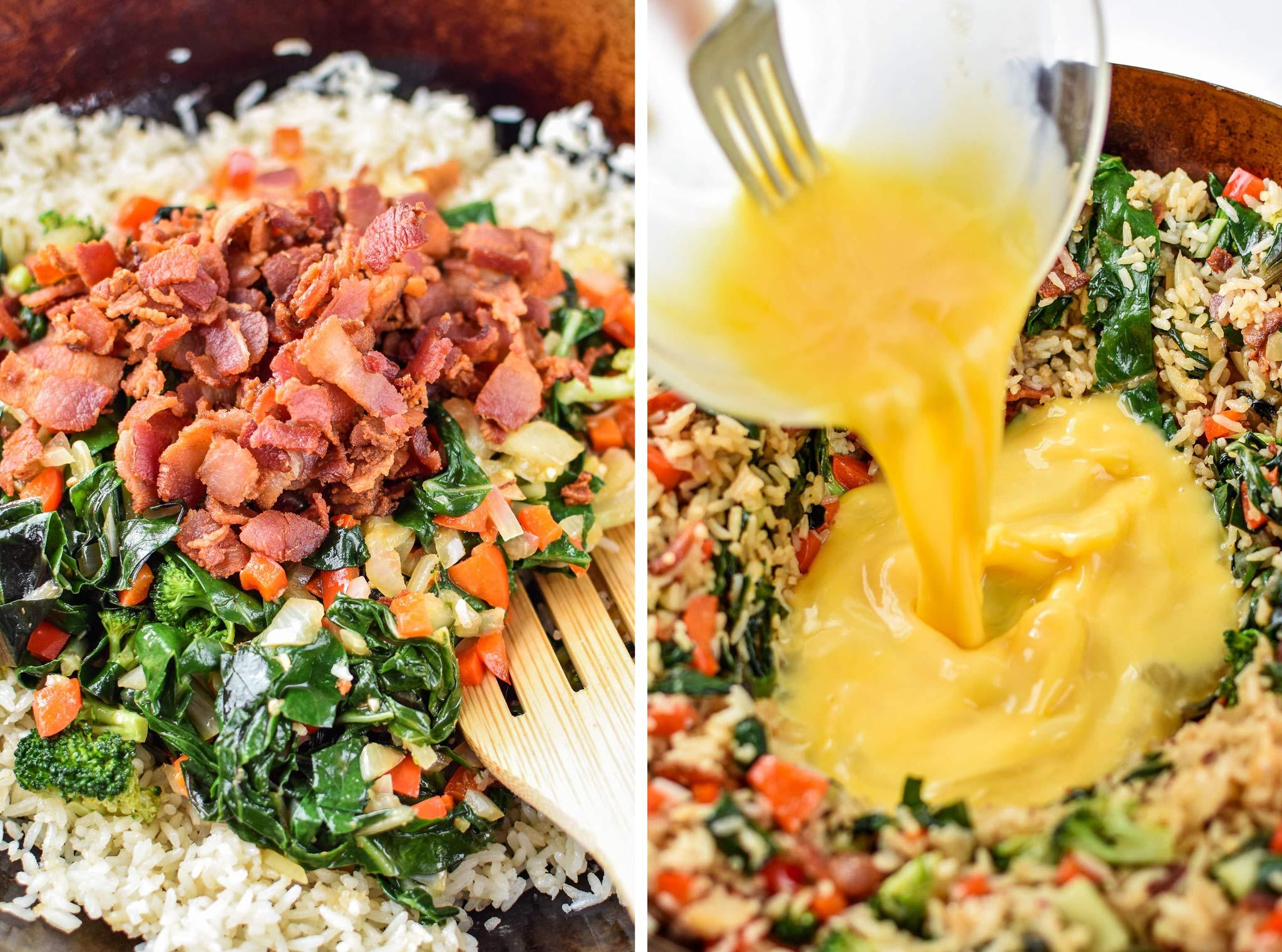 preparing the veggie packed breakfast fried rice