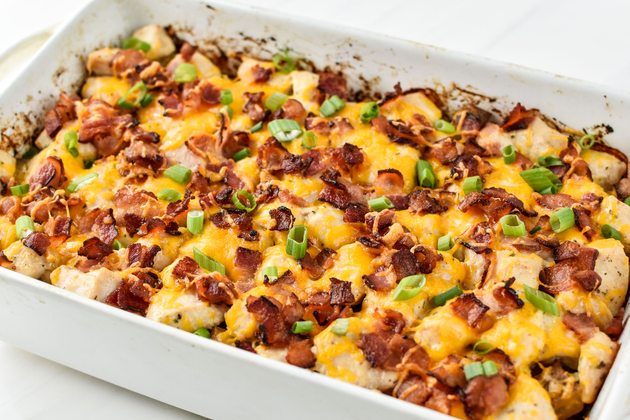 Chicken bacon ranch potato bake fresh from the oven
