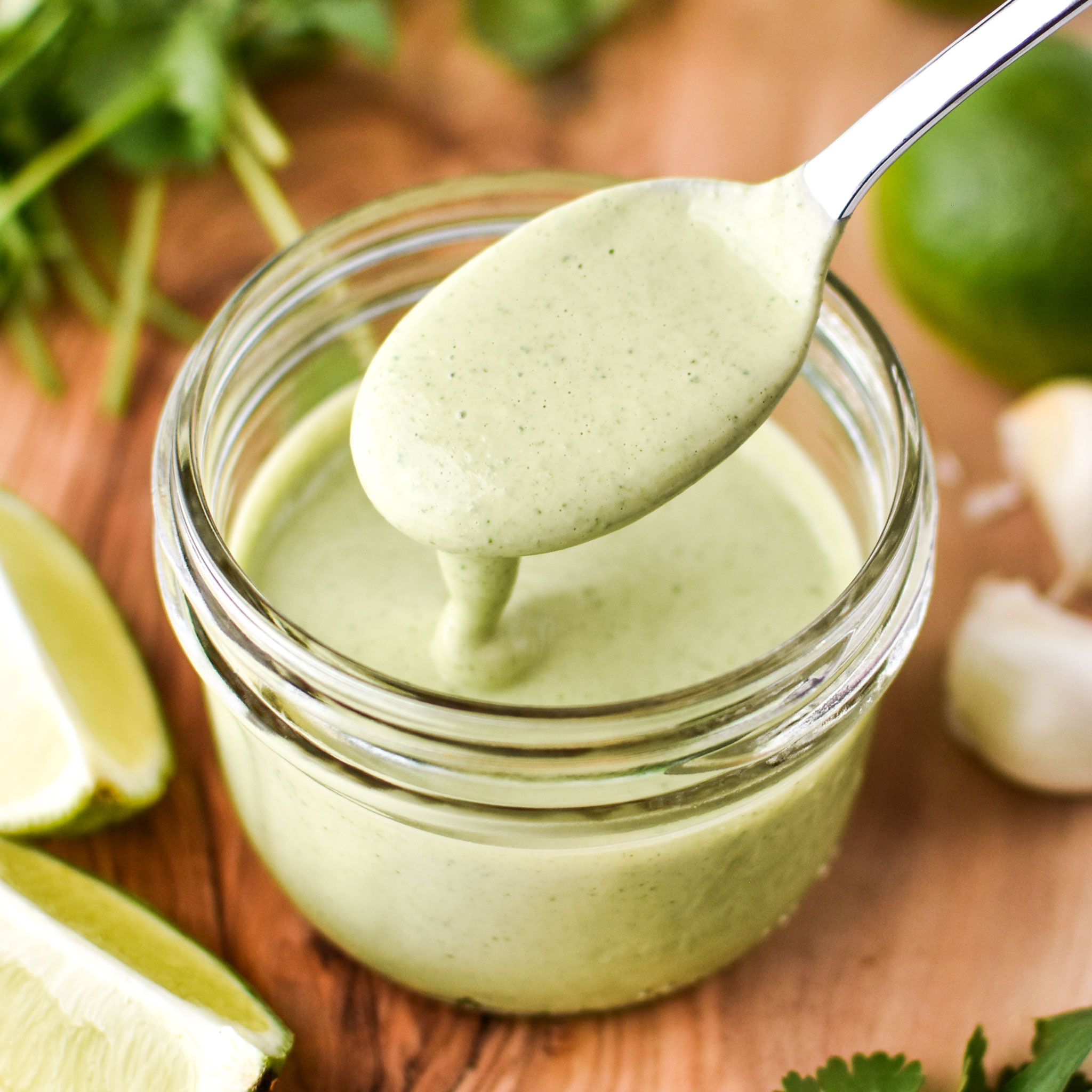 Cilantro lime tahini dressing freshly made and ready to be used for salads and veggies