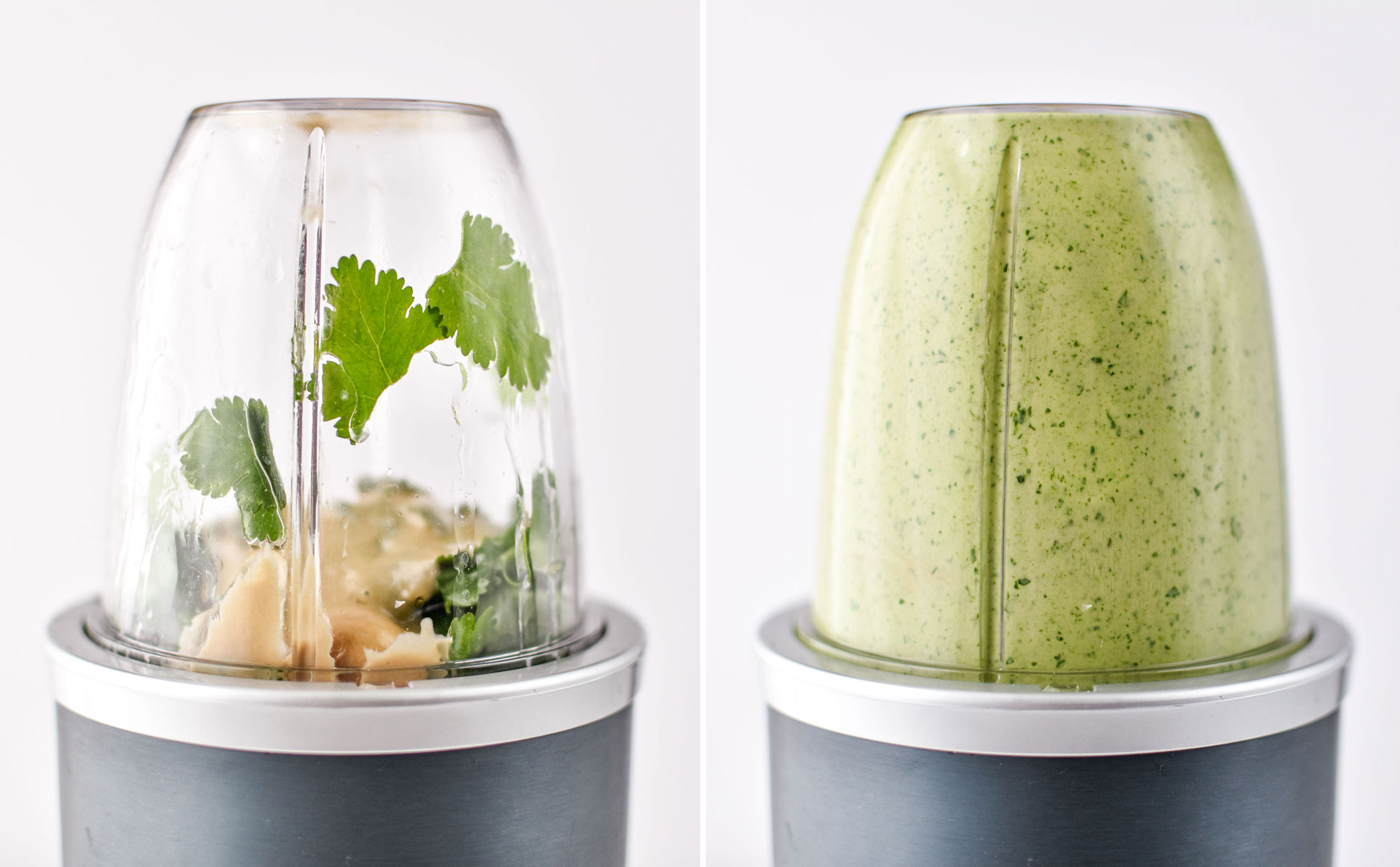 Before and after blending up the cilantro lime tahini dressing in a nutribullet
