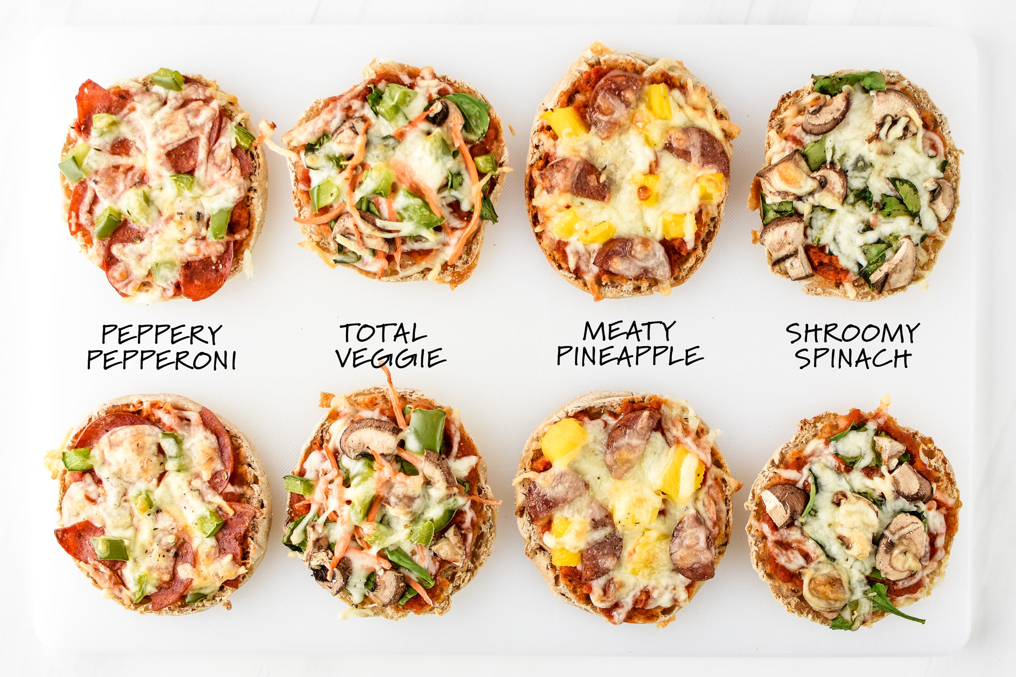 Four kinds of english muffin mini pizzas to try for lunch meal prep!