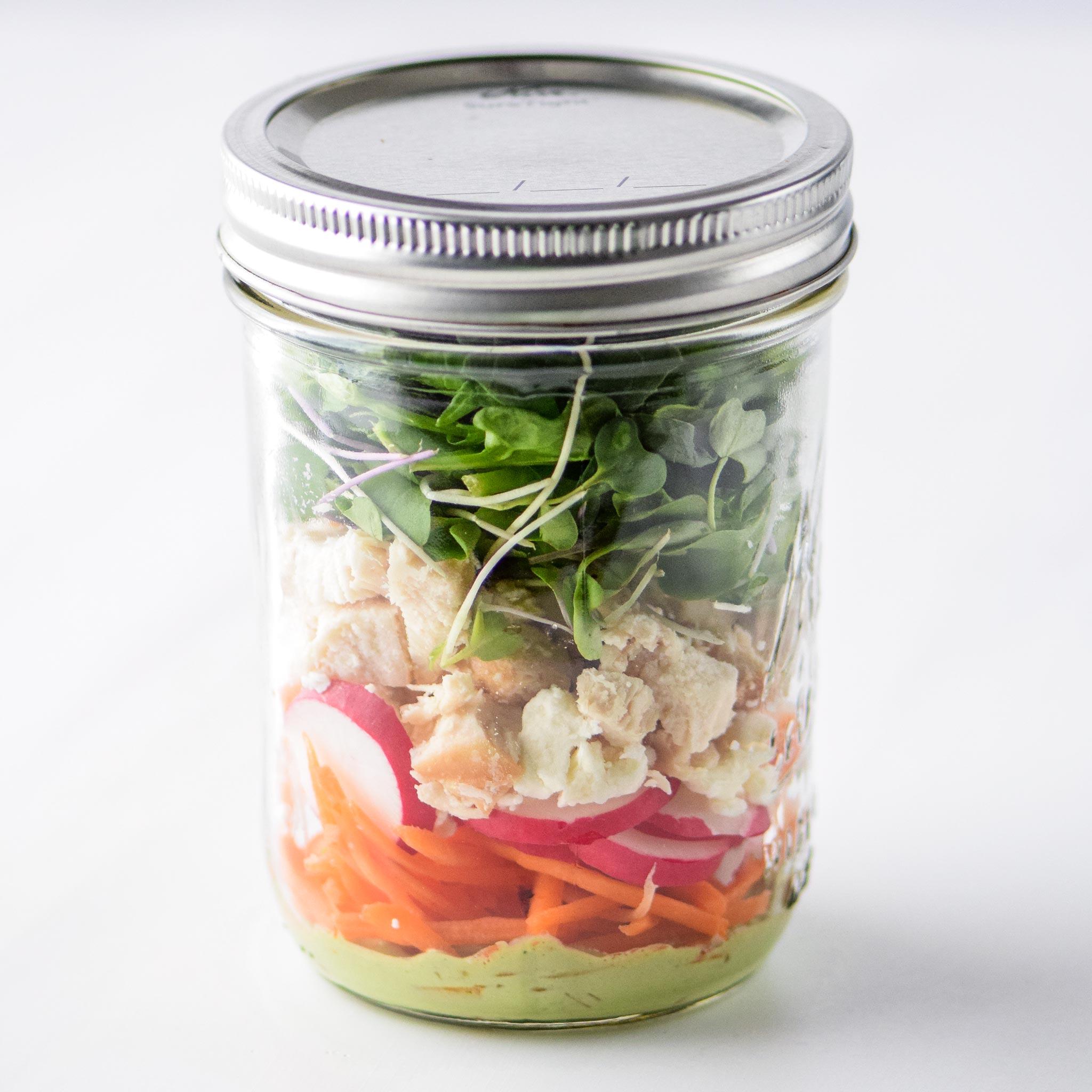 Simple Spring Mix Lunch Salad as a mason jar salad
