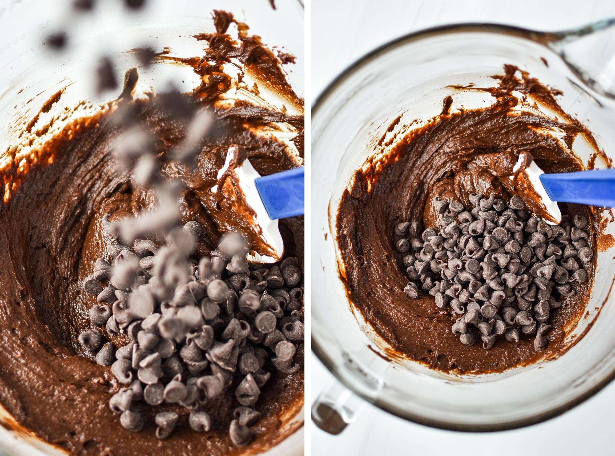 Adding chocolate chips to the batter for the sweet potato brownie skillet