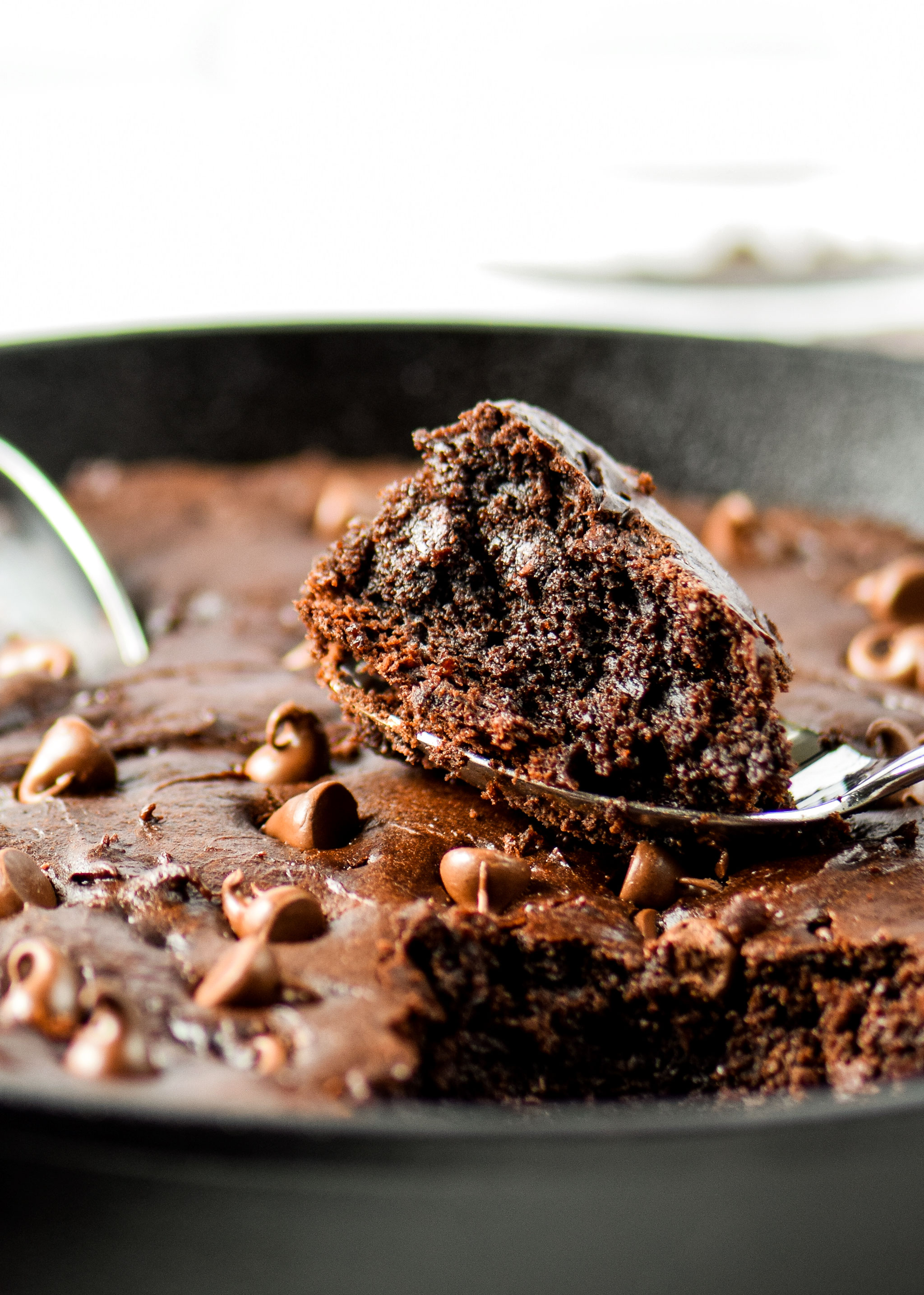 A big spoonful of sweet potato brownie skillet