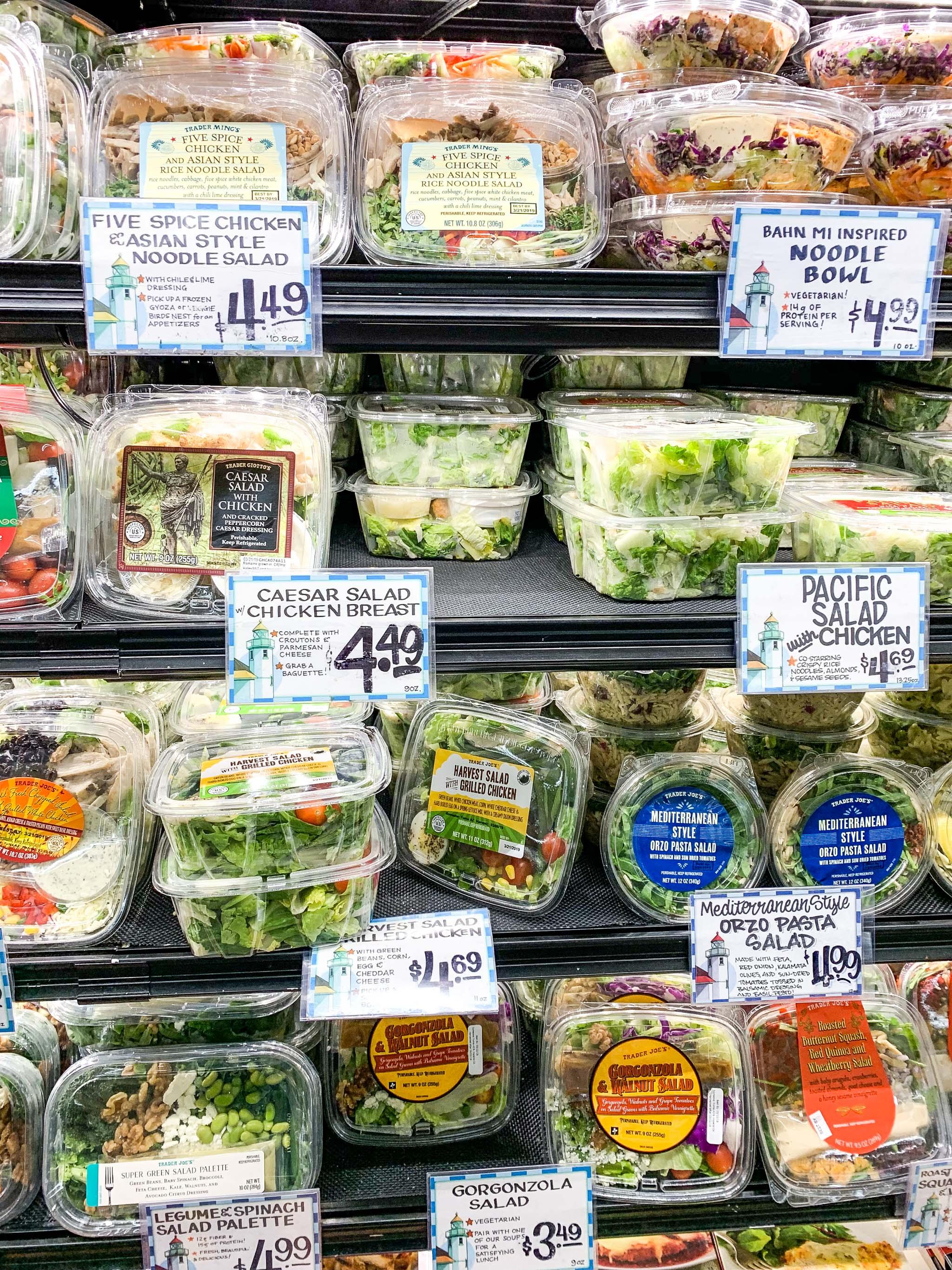 trader joes shelf of premade salads