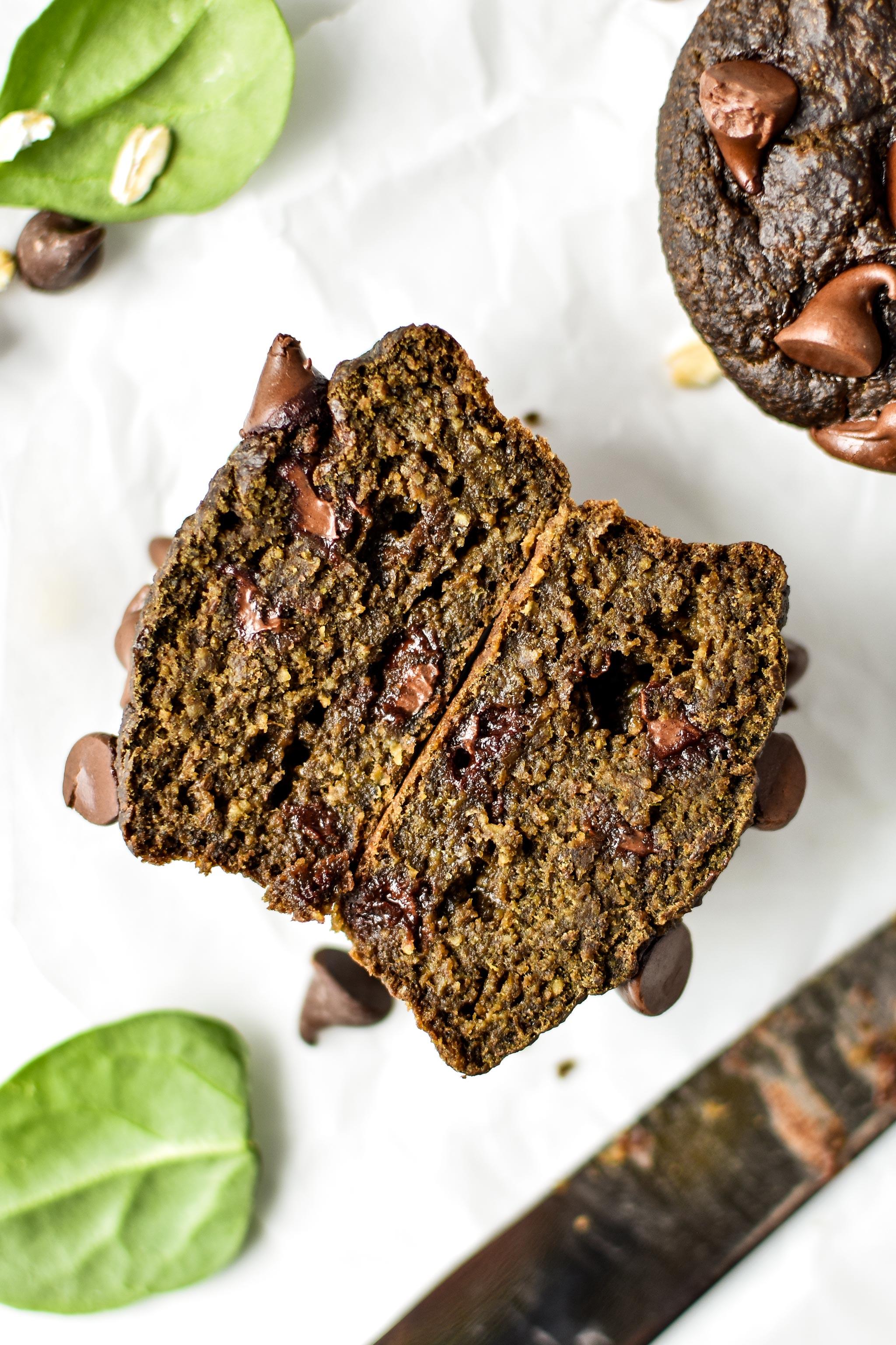 chocolate spinach blender muffin cut in half