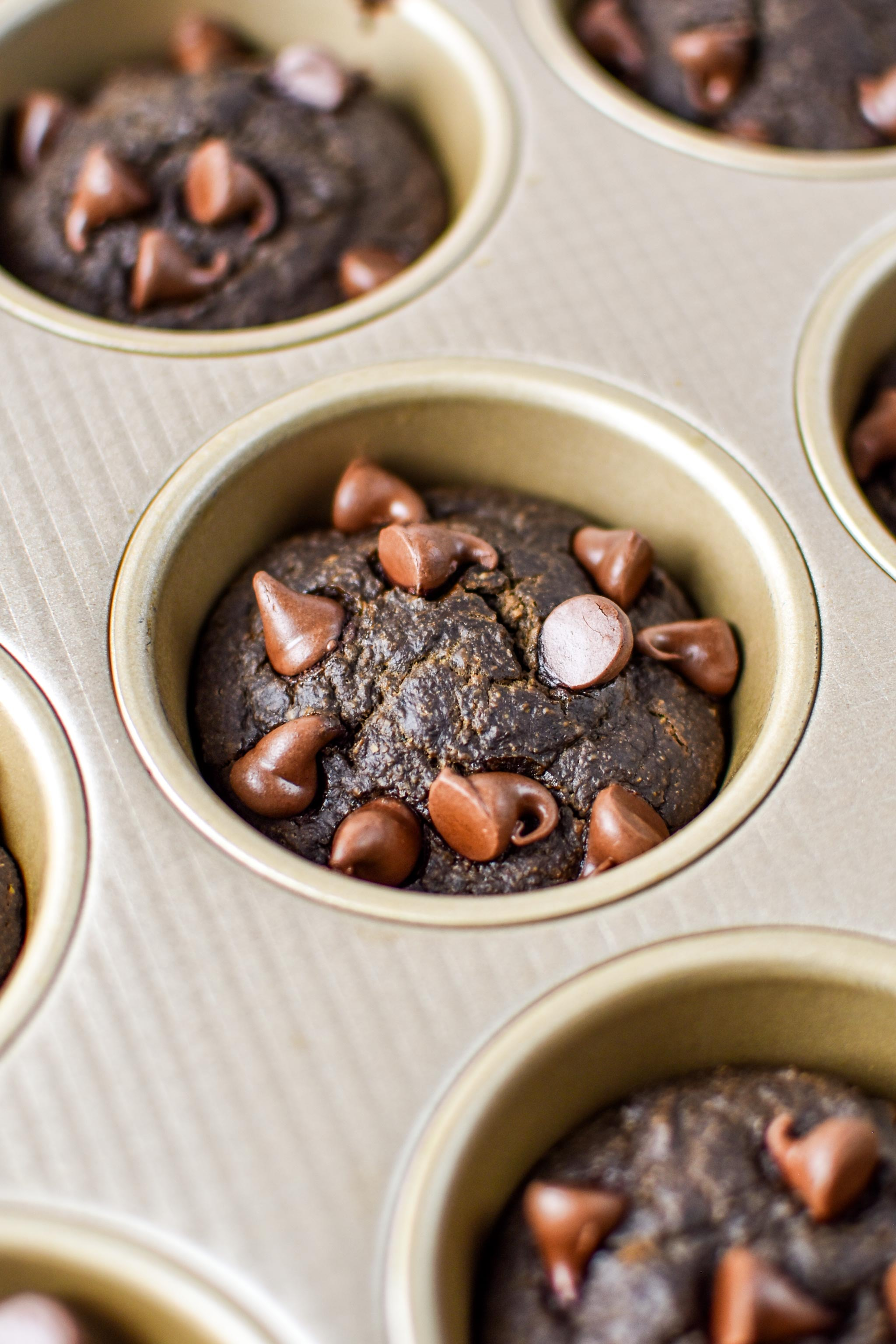 baked chocolate spinach blender muffins
