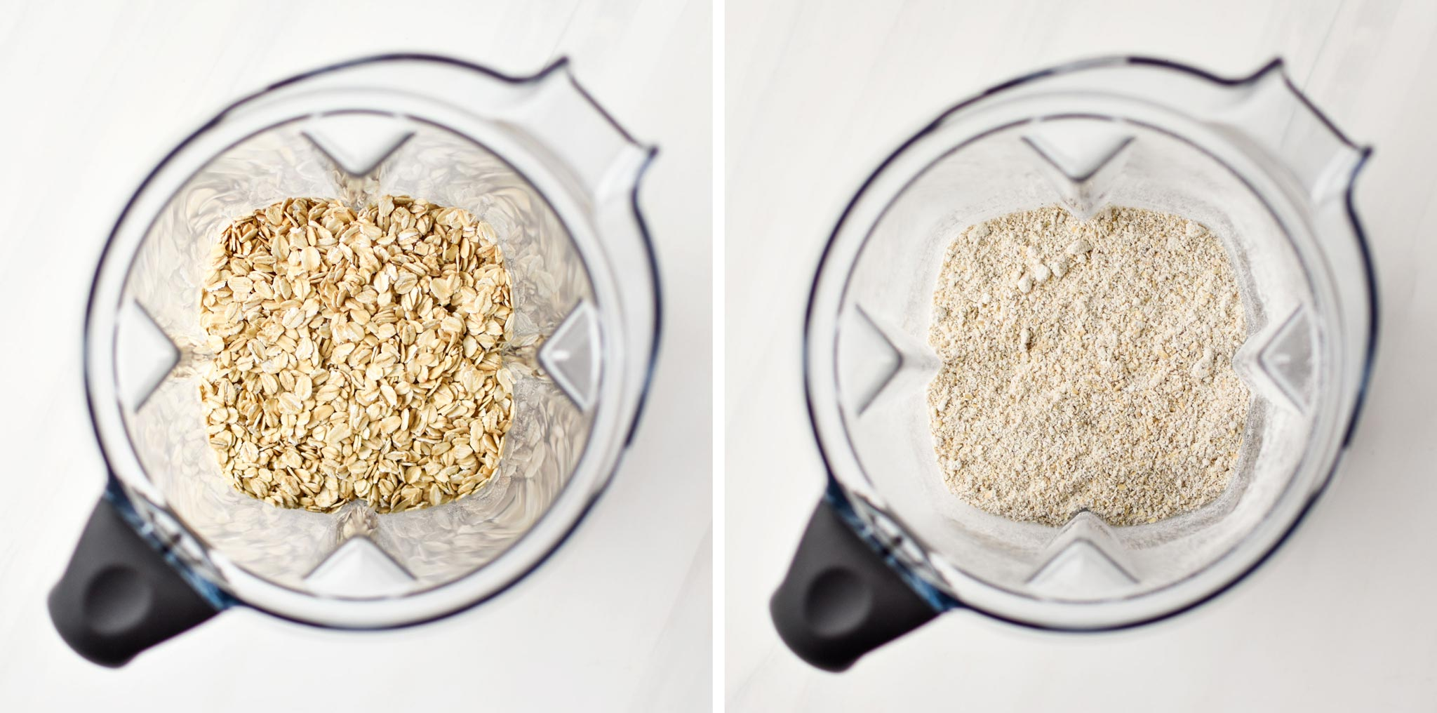 turning rolled oats into oat flour for the chocolate spinach blender muffins