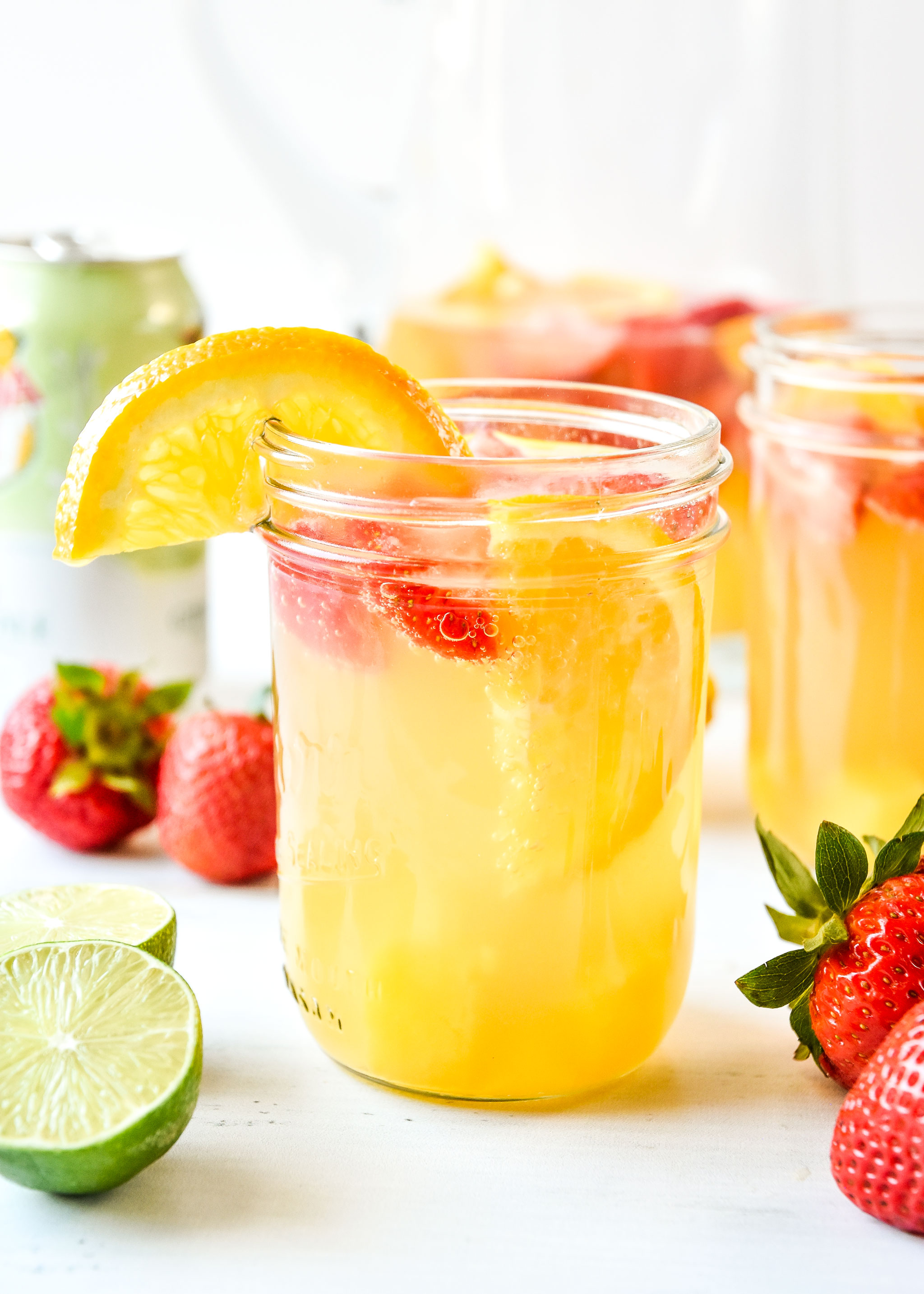 Mason jars with summer white wine sangria