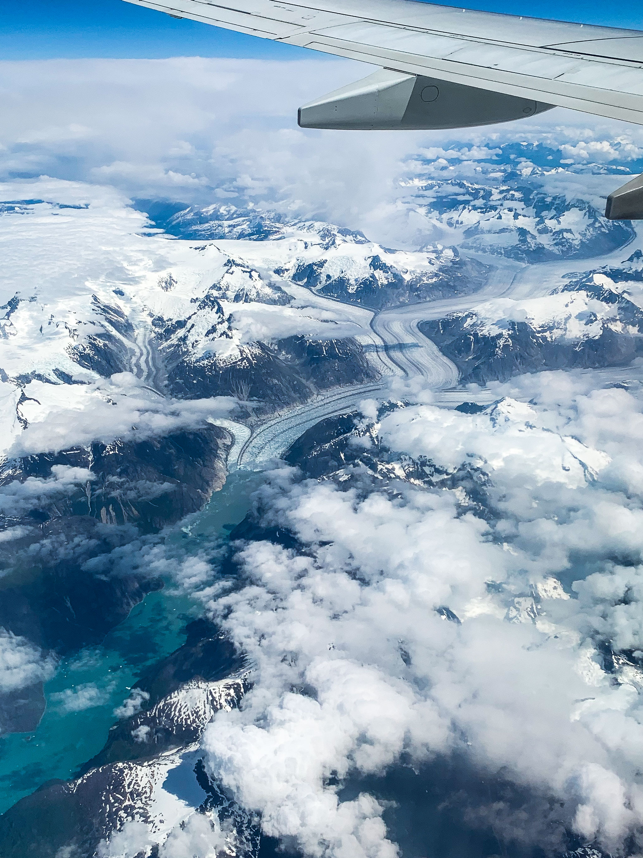 glaciers and glacier valleys in alaska from the plane