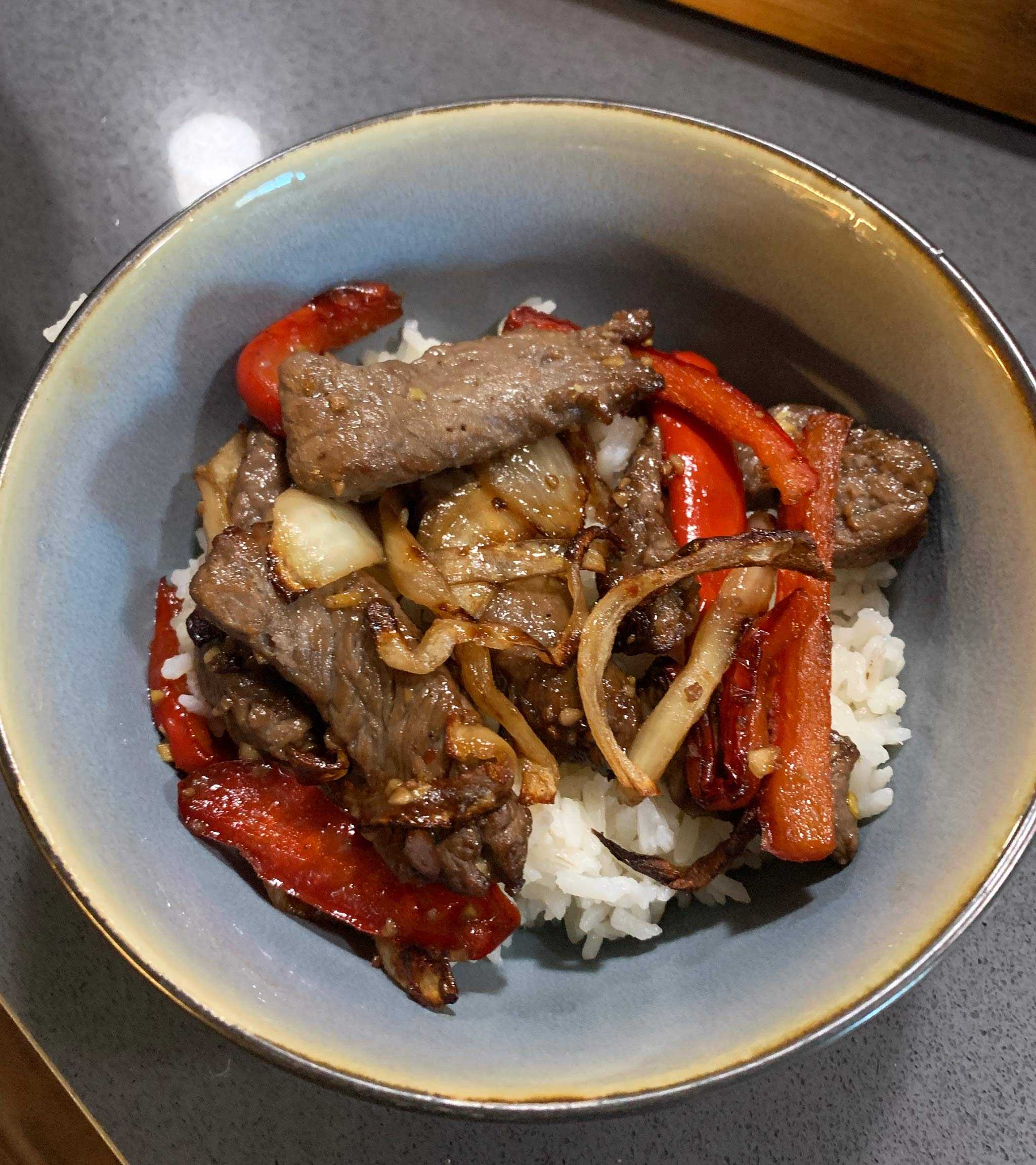 air fryer asian beef and veggies served with rice