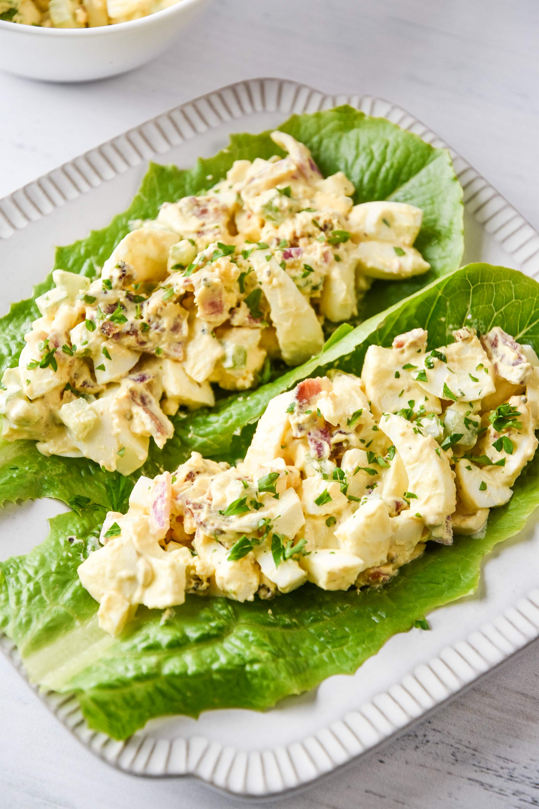 whole30 egg salad with bacon made into lettuce wraps