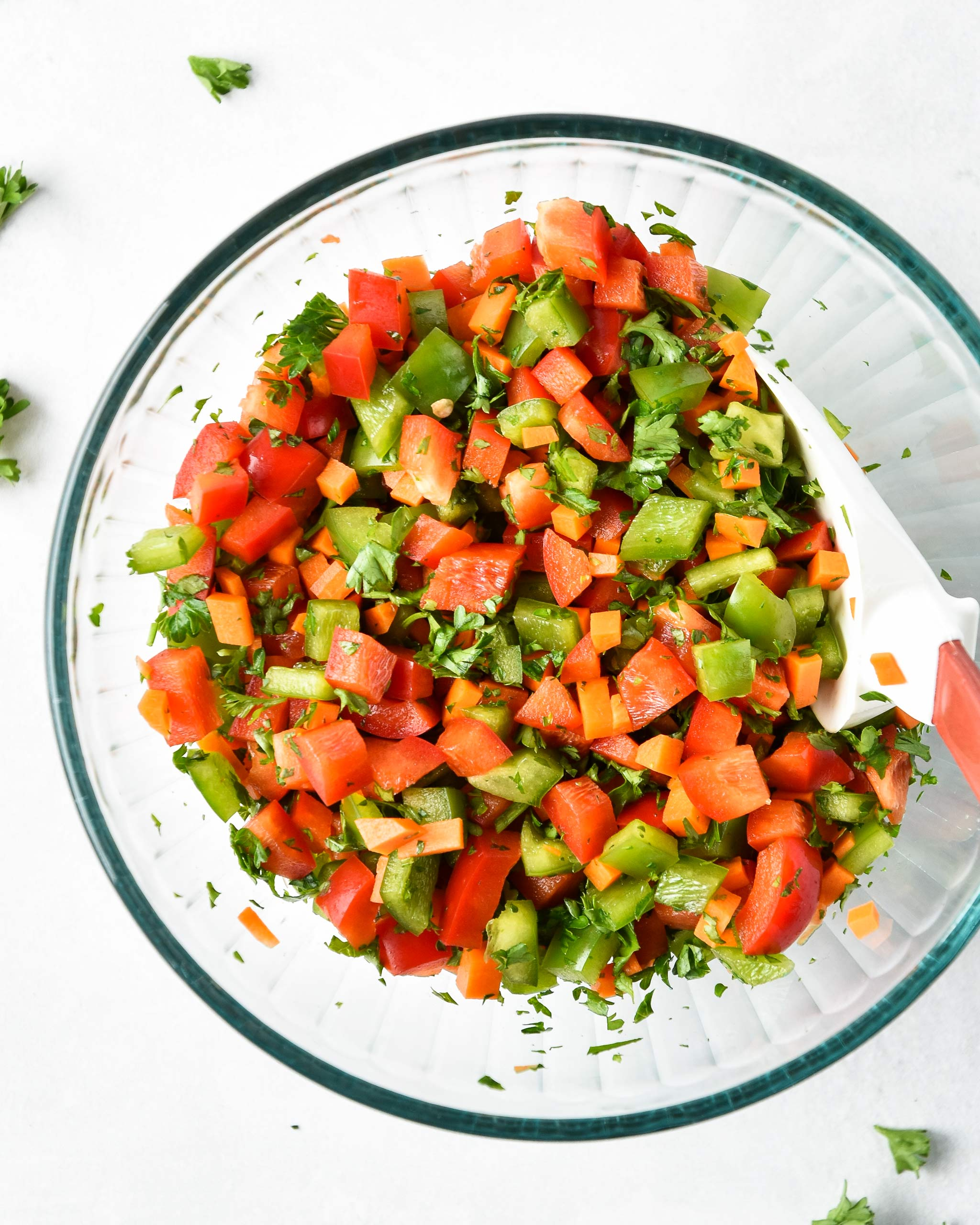 everyday vegetable confetti mixed up in a bowl