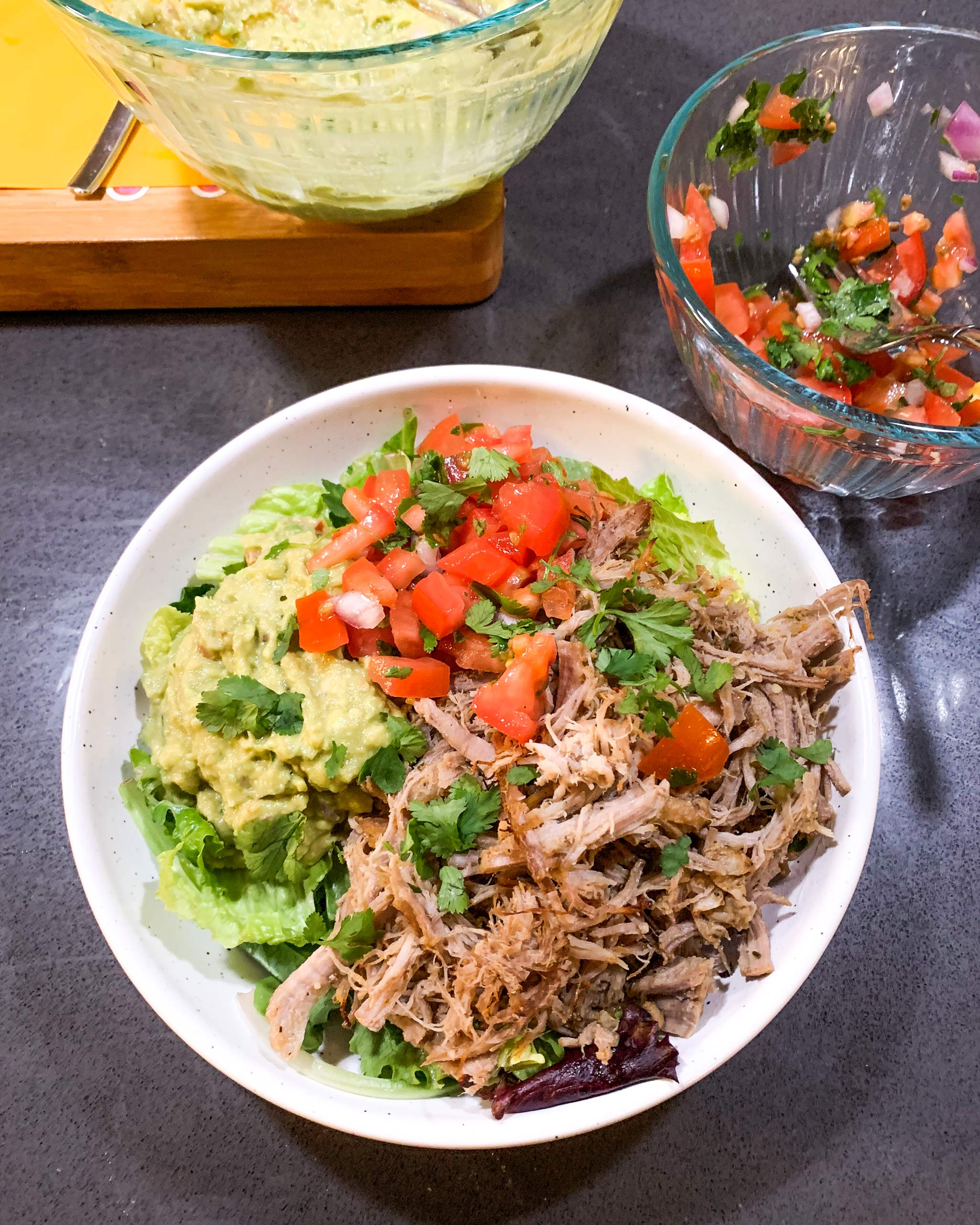 whole30 instant pot carnitas bowls with guac