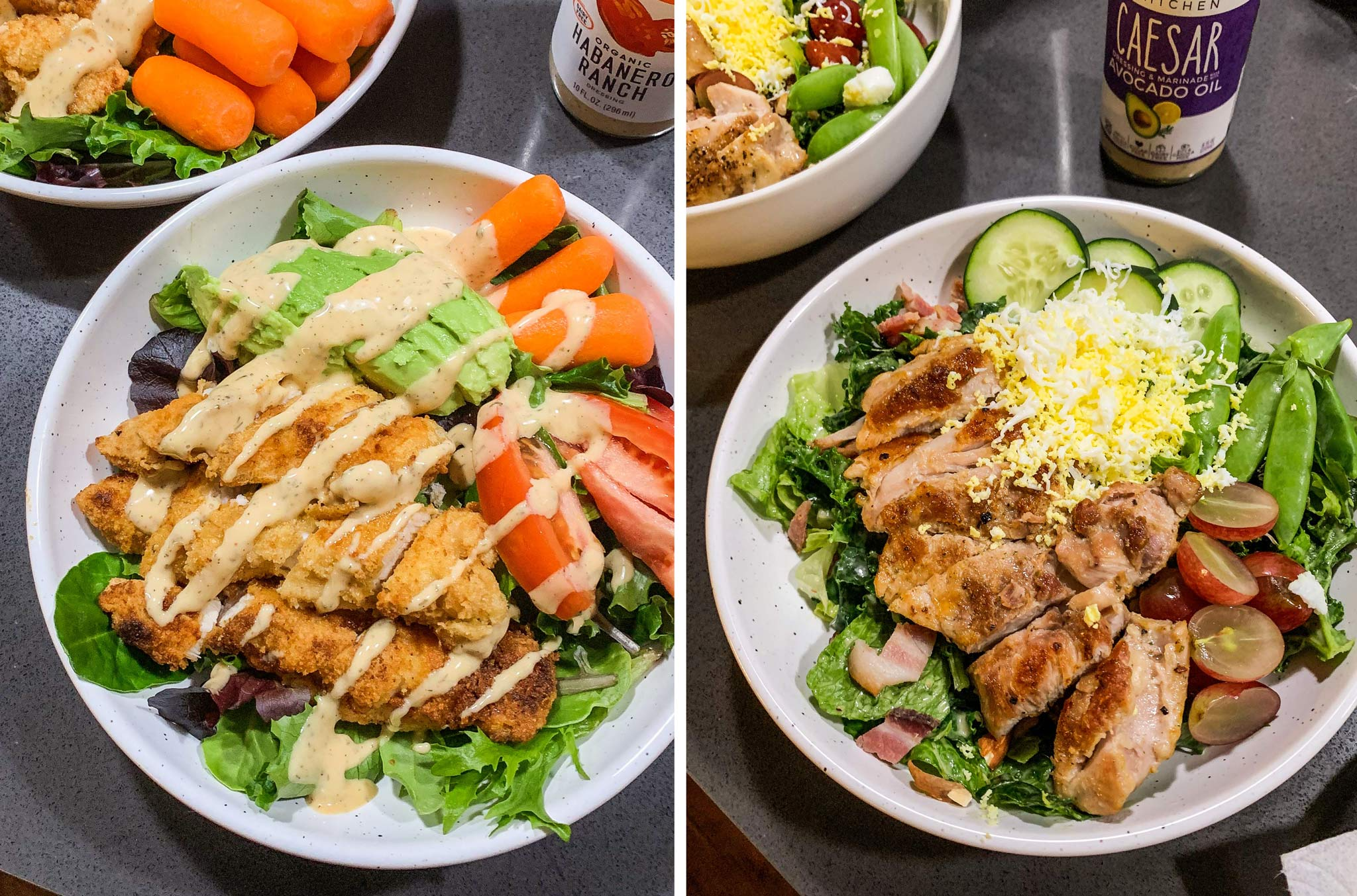 Examples of B.A.S. Big ass salads with mixed greens, lots of veggies, protein, and dressing