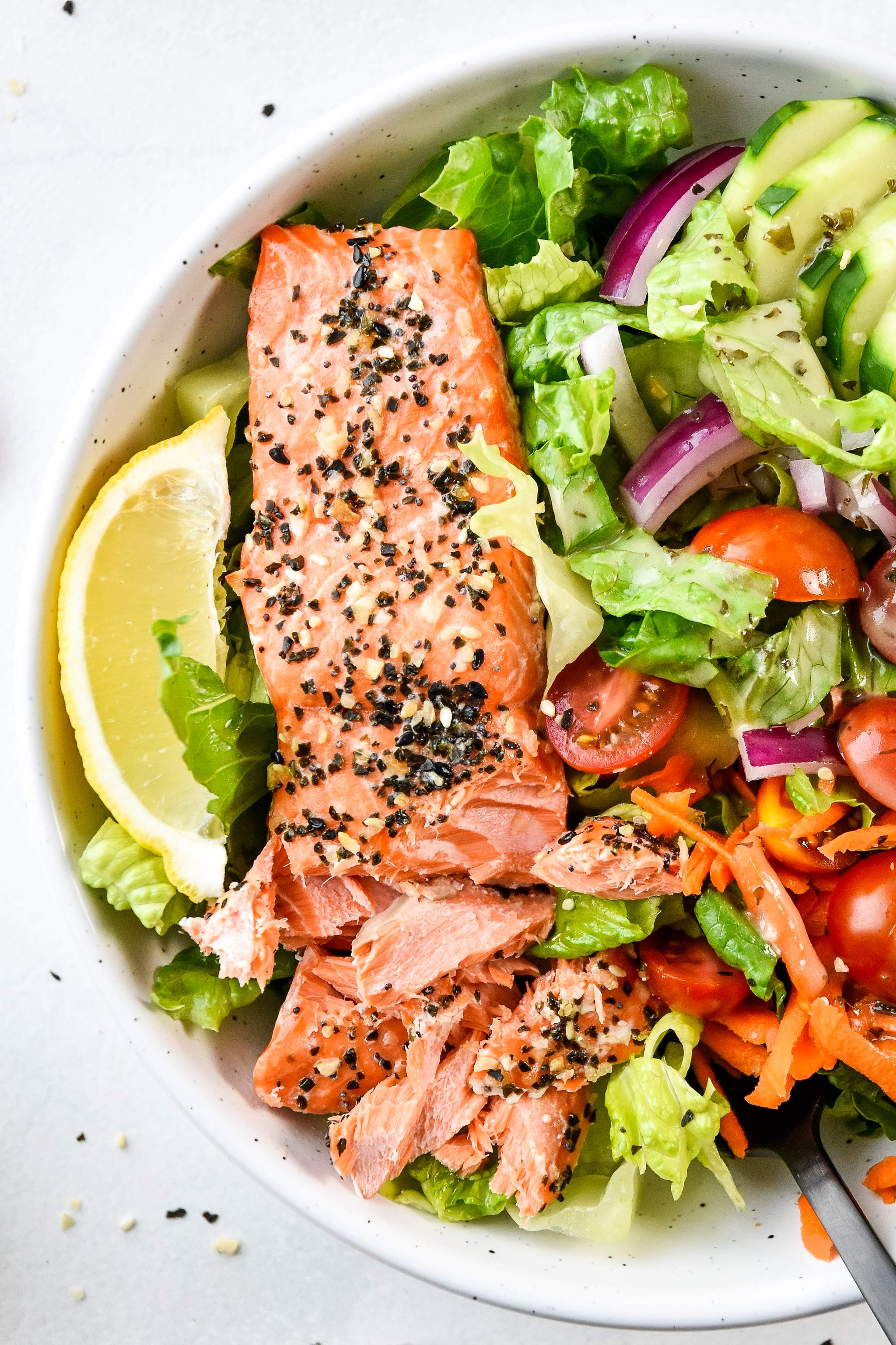 baked salmon in the everything bagel baked salmon salad