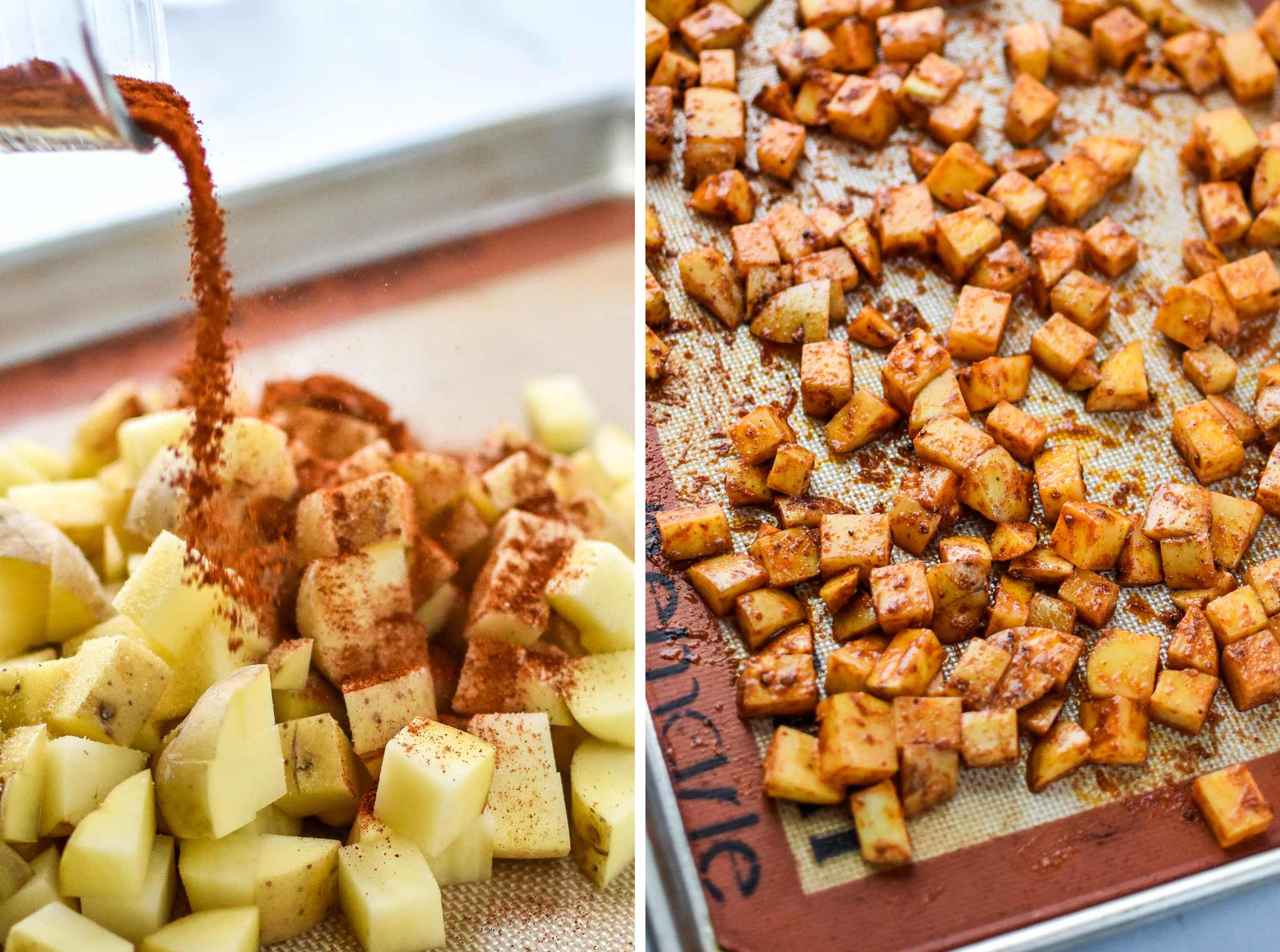 diced potatoes on a sheet pan with spices