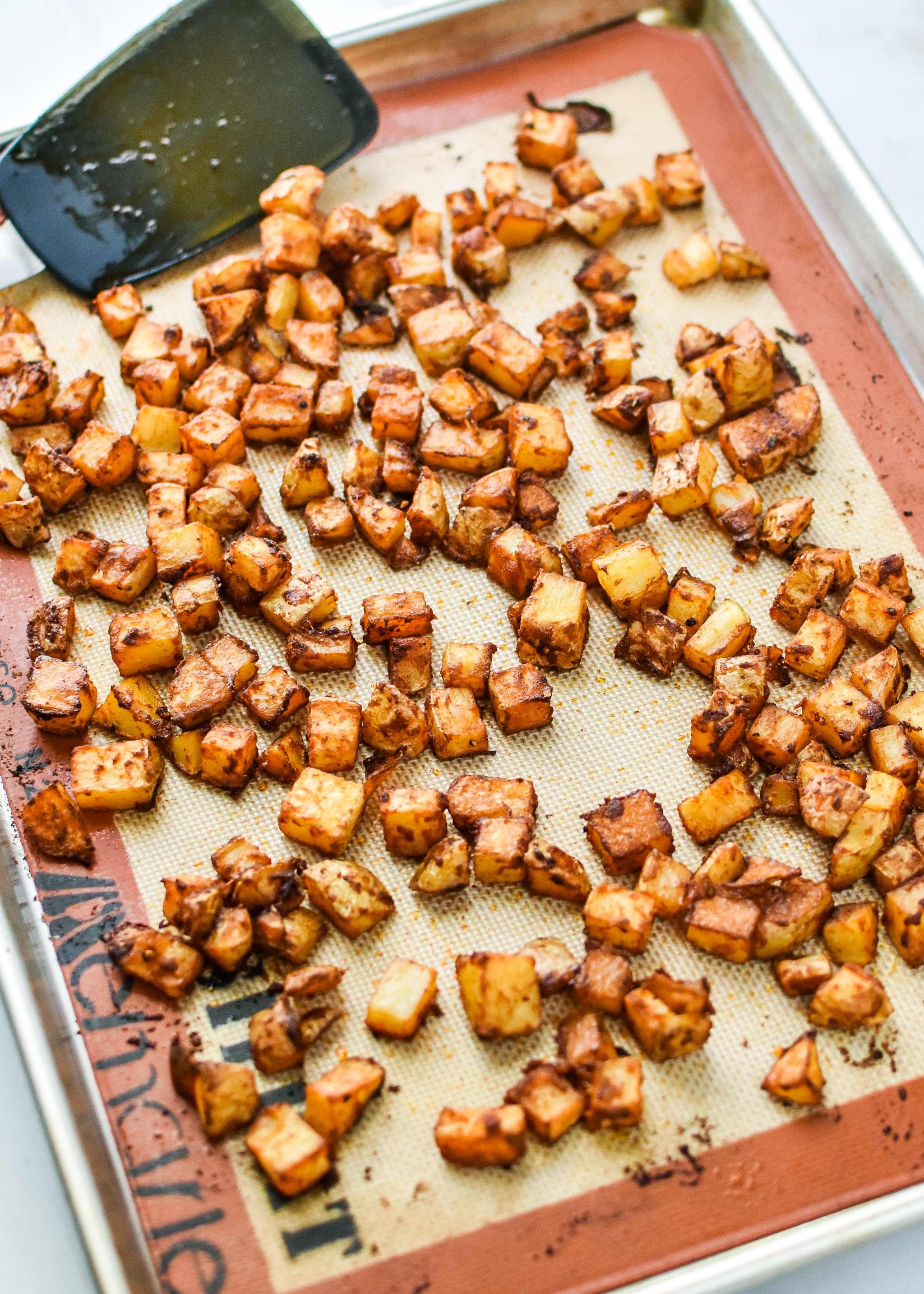 crispy looking breakfast potatoes on a sheet pan