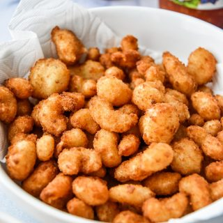 breaded shrimp cooked in the air fryer in a bowl