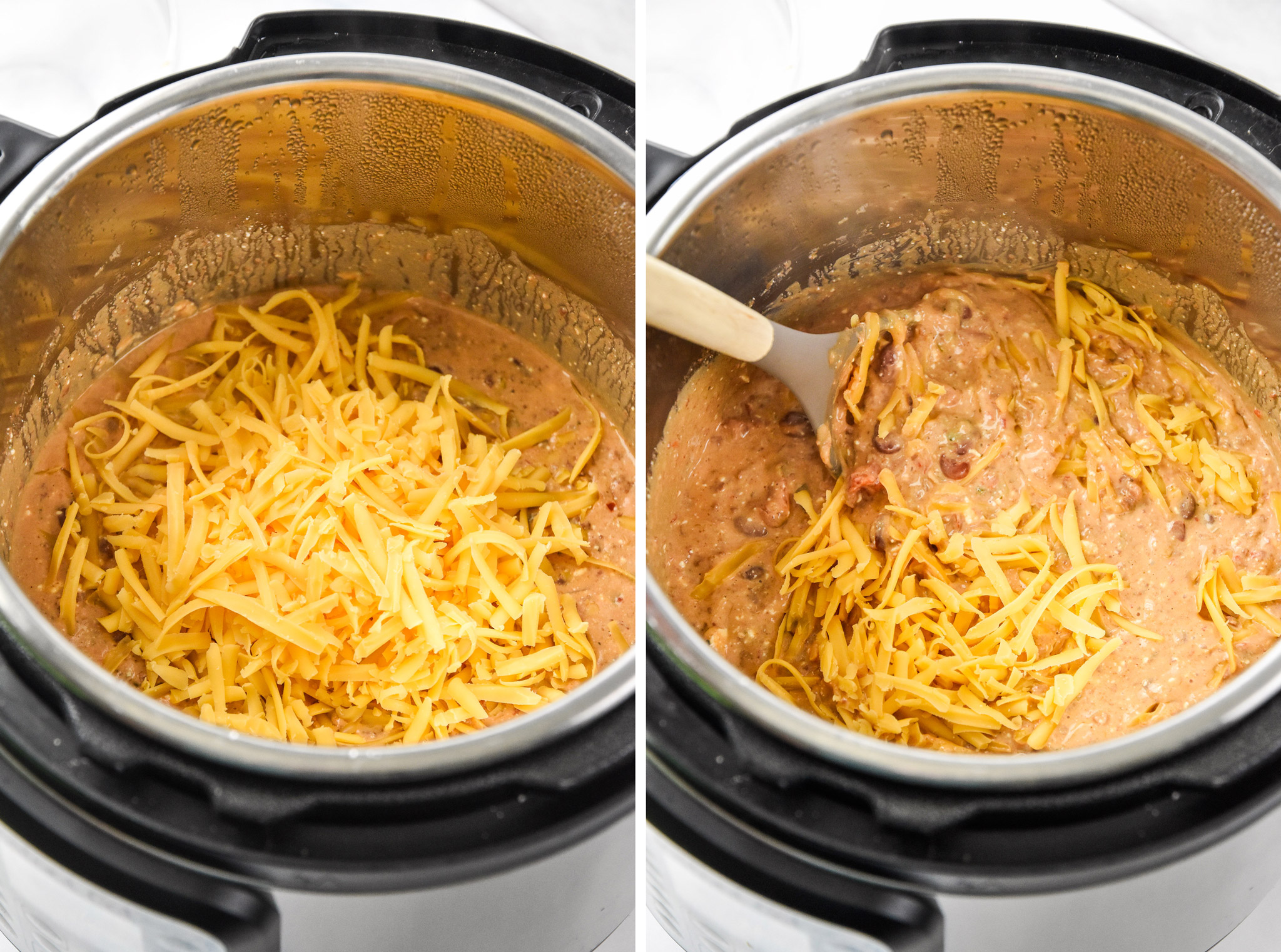 adding cheese to the instant pot for the chili cheese dip