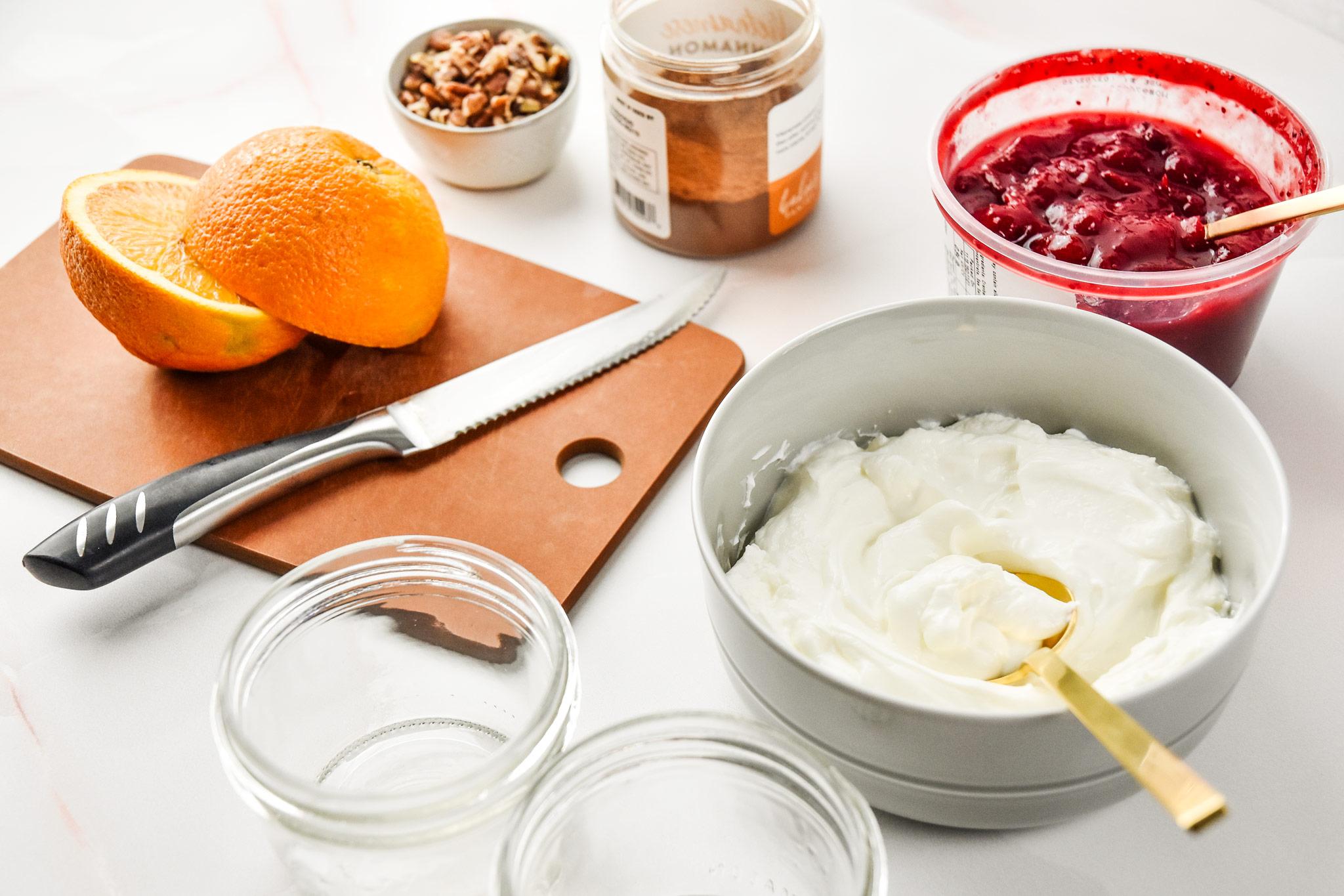 ingredients for the cinnamon orange cranberry yogurt parfaits