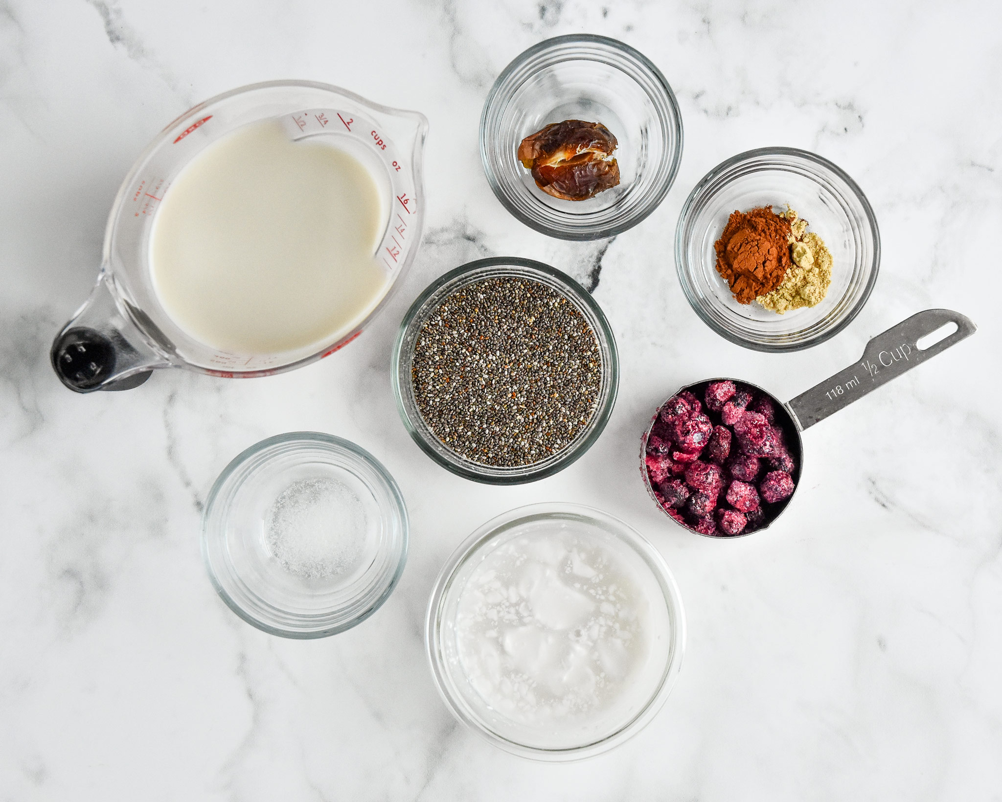 ingredients in the blueberry spice chia pudding