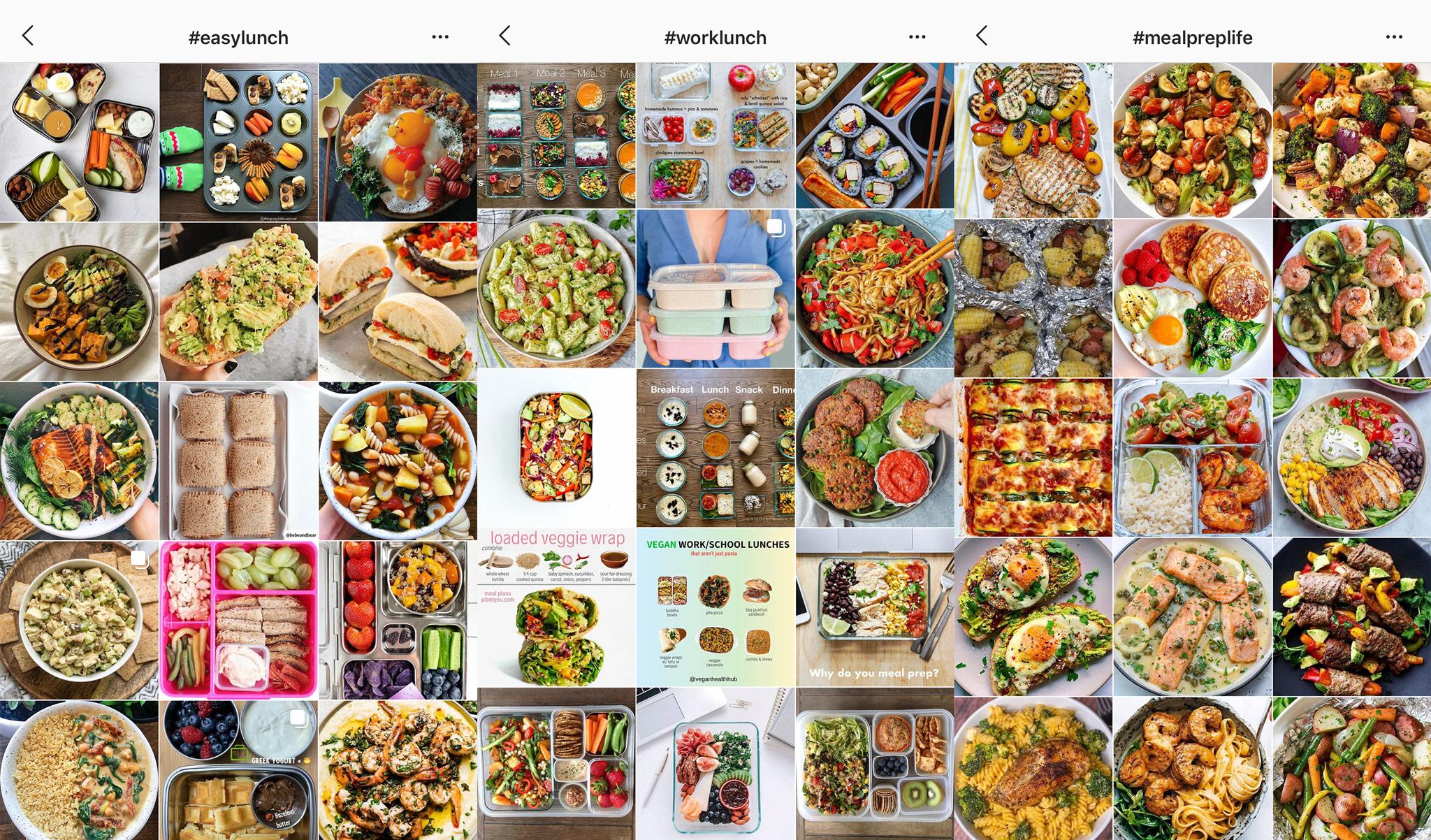 screenshots of instagram meal prep inspiration