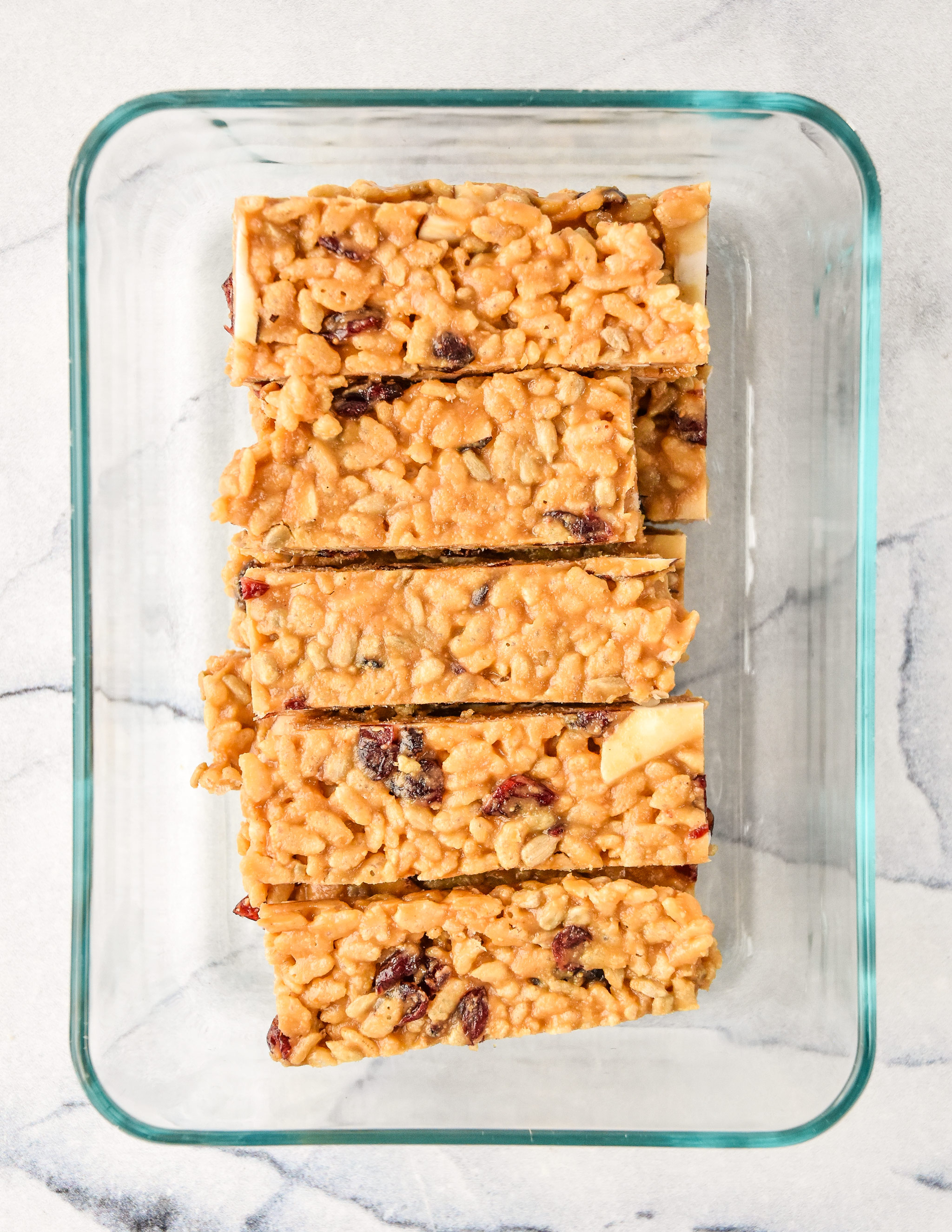 peanut butter rice krispie breakfast bars in a meal prep container