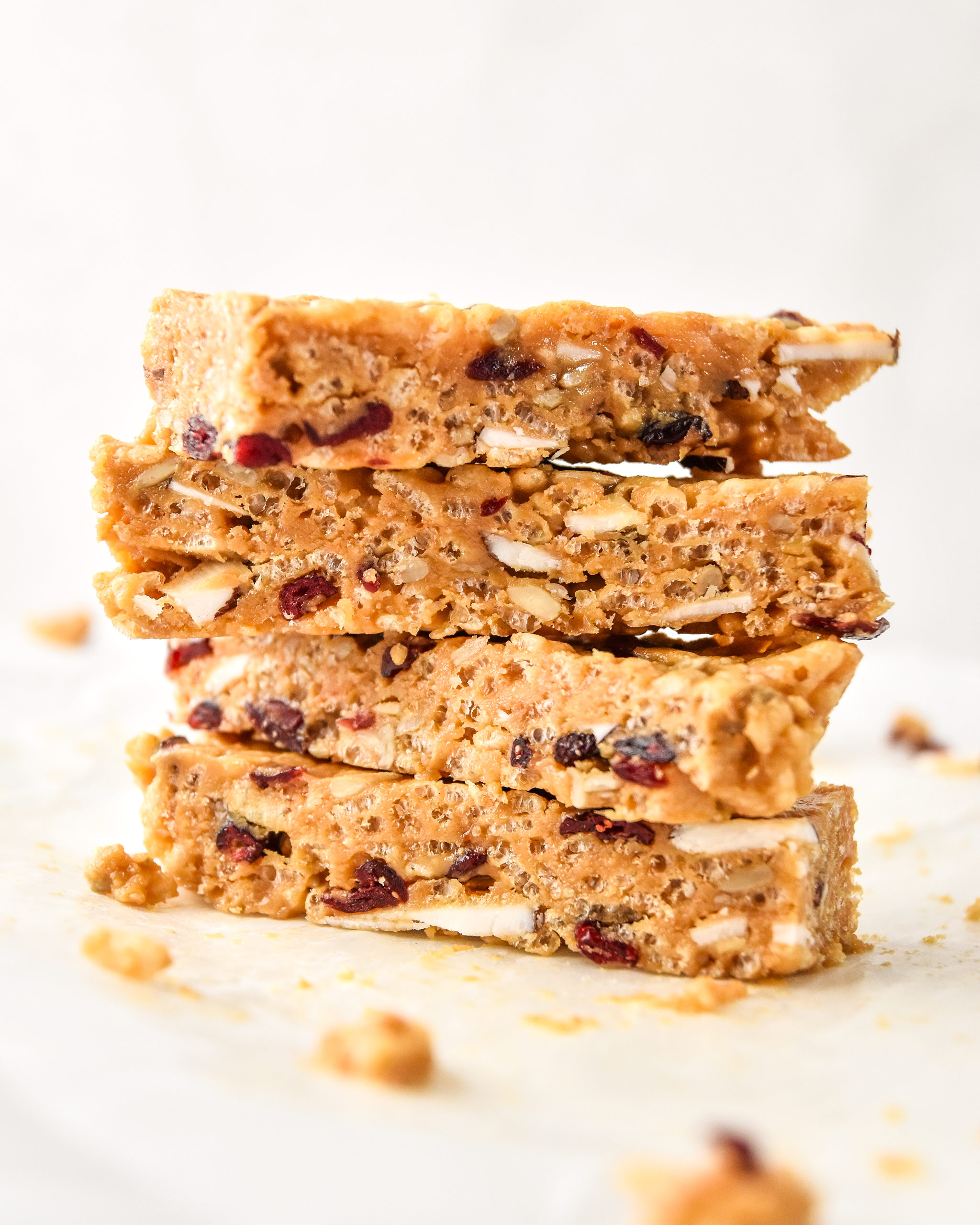 side view of stacked rice krispie breakfast bars
