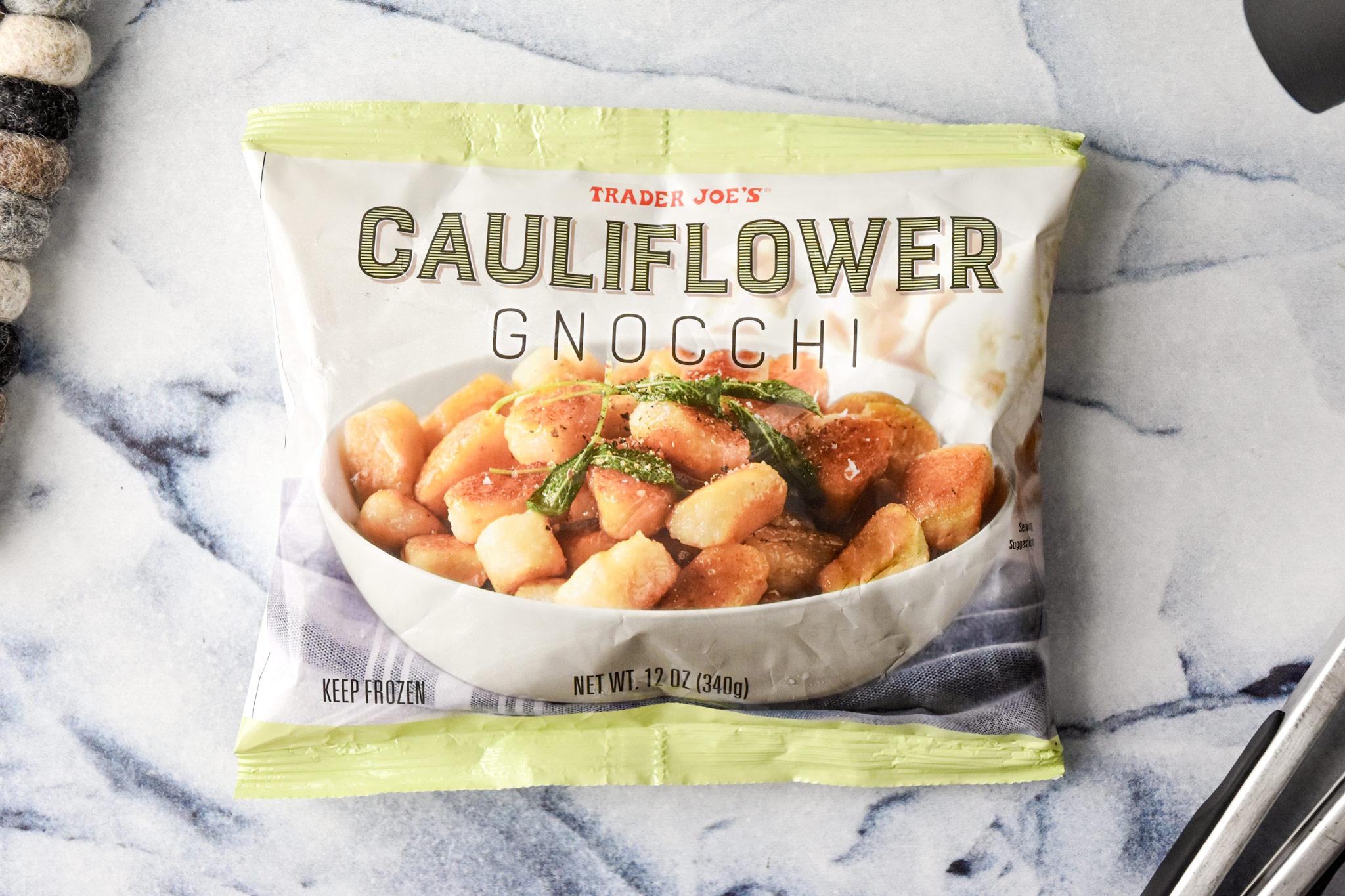 a bag of trader joe's cauliflower gnocchi