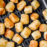 close up cauliflower gnocchi in an air fryer