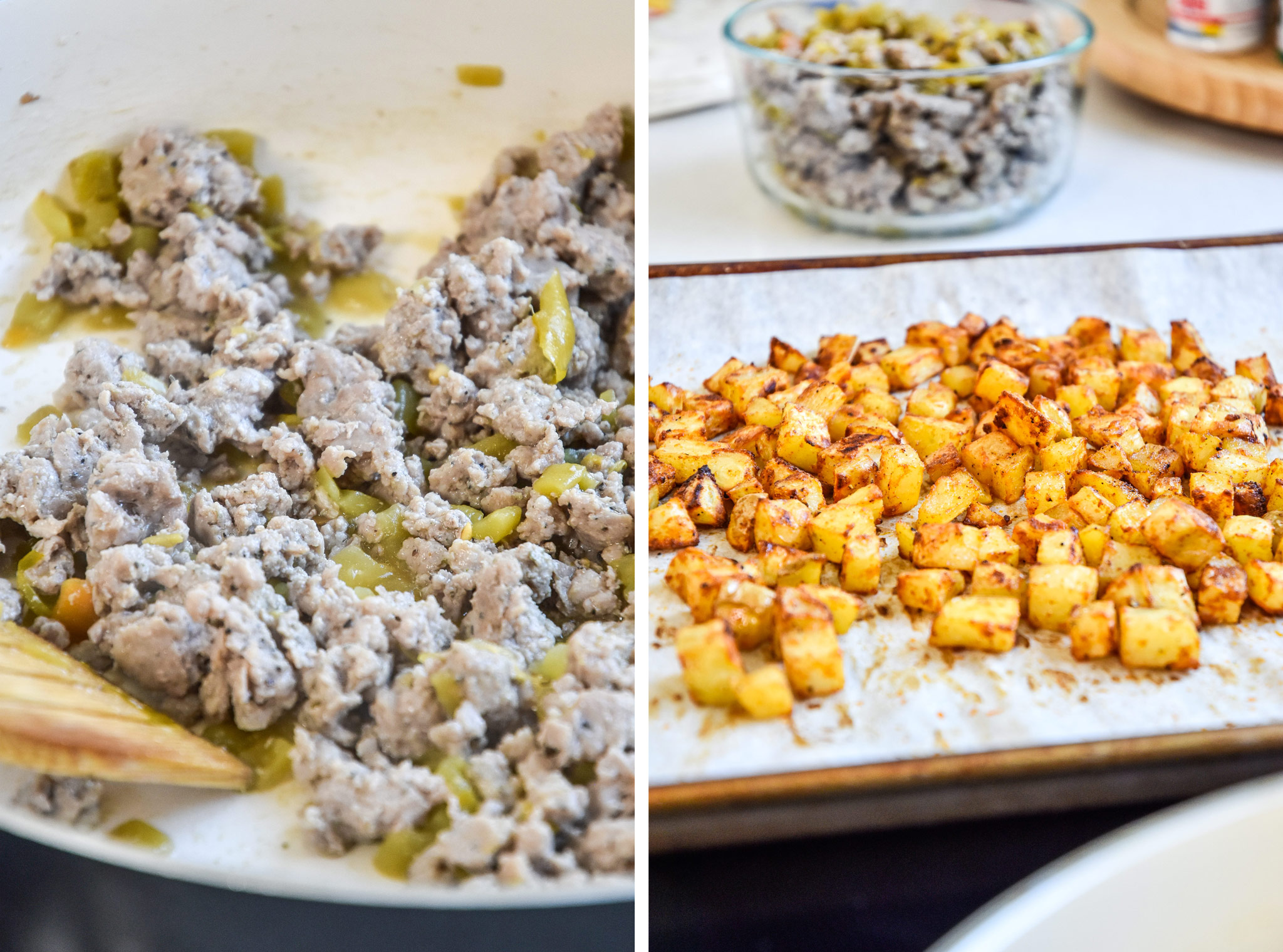 the cooked ground meat and cooked potatoes for the air fryer breakfast burritos
