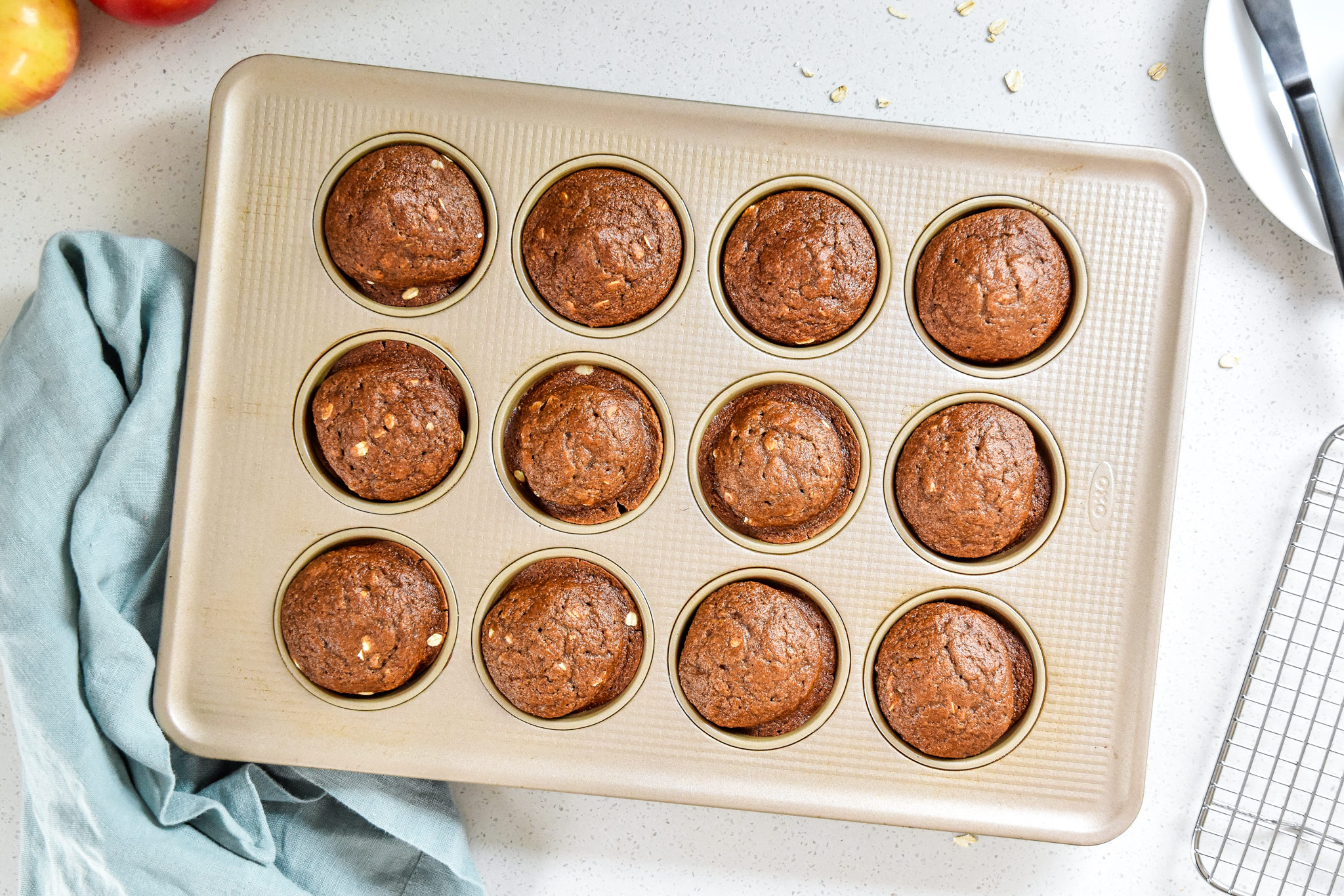 fresh baked oatmeal applesauce blender muffins from the oven