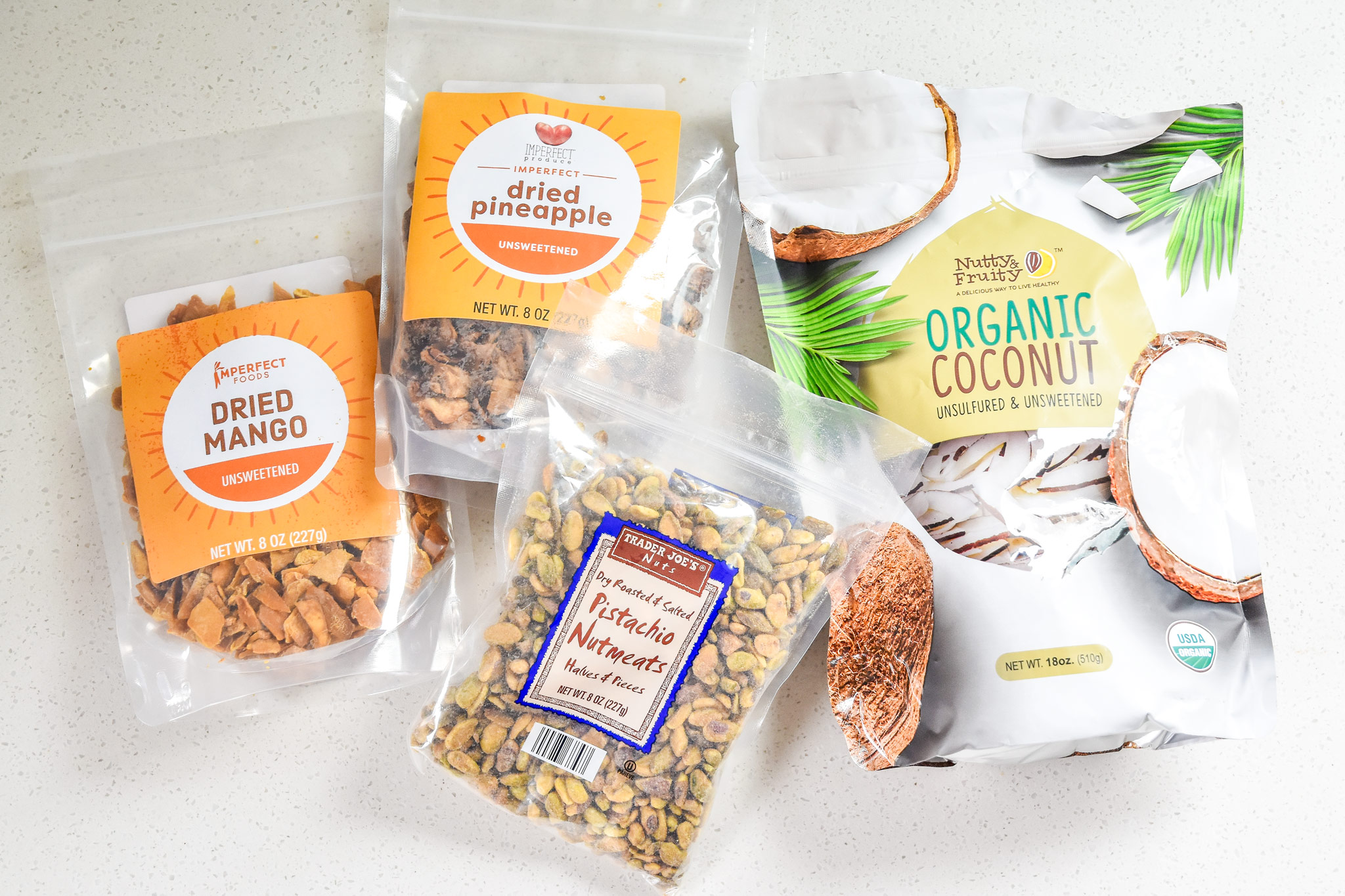 ingredients in the packaging for the tropical dried fruit trail mix