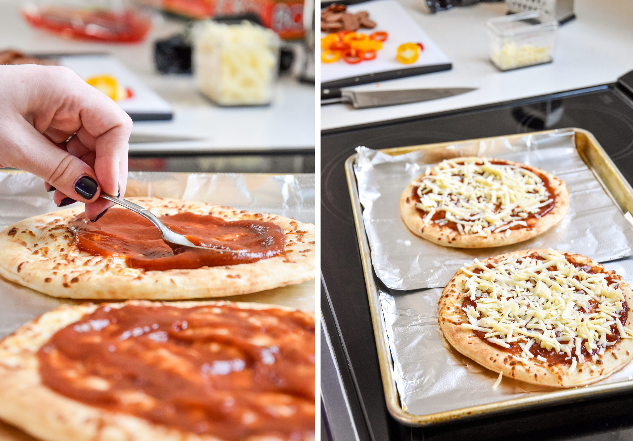 assembling the personal pizzas with sauce and cheese