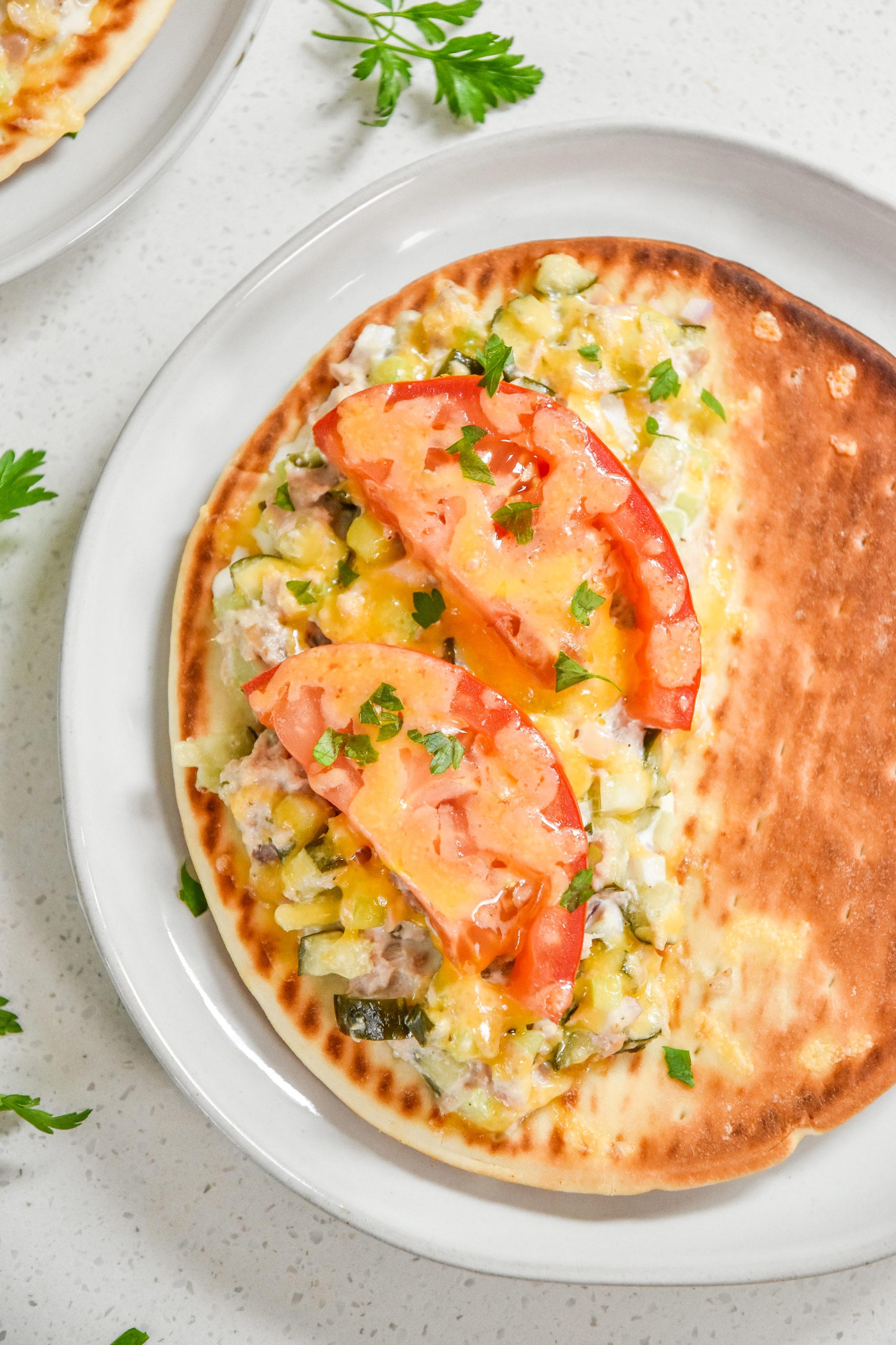 tuna melt pita sandwiches fresh from the oven