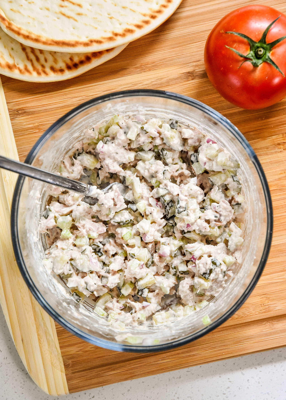 tuna salad in a bowl prepared for the tuna melt pita sandwiches