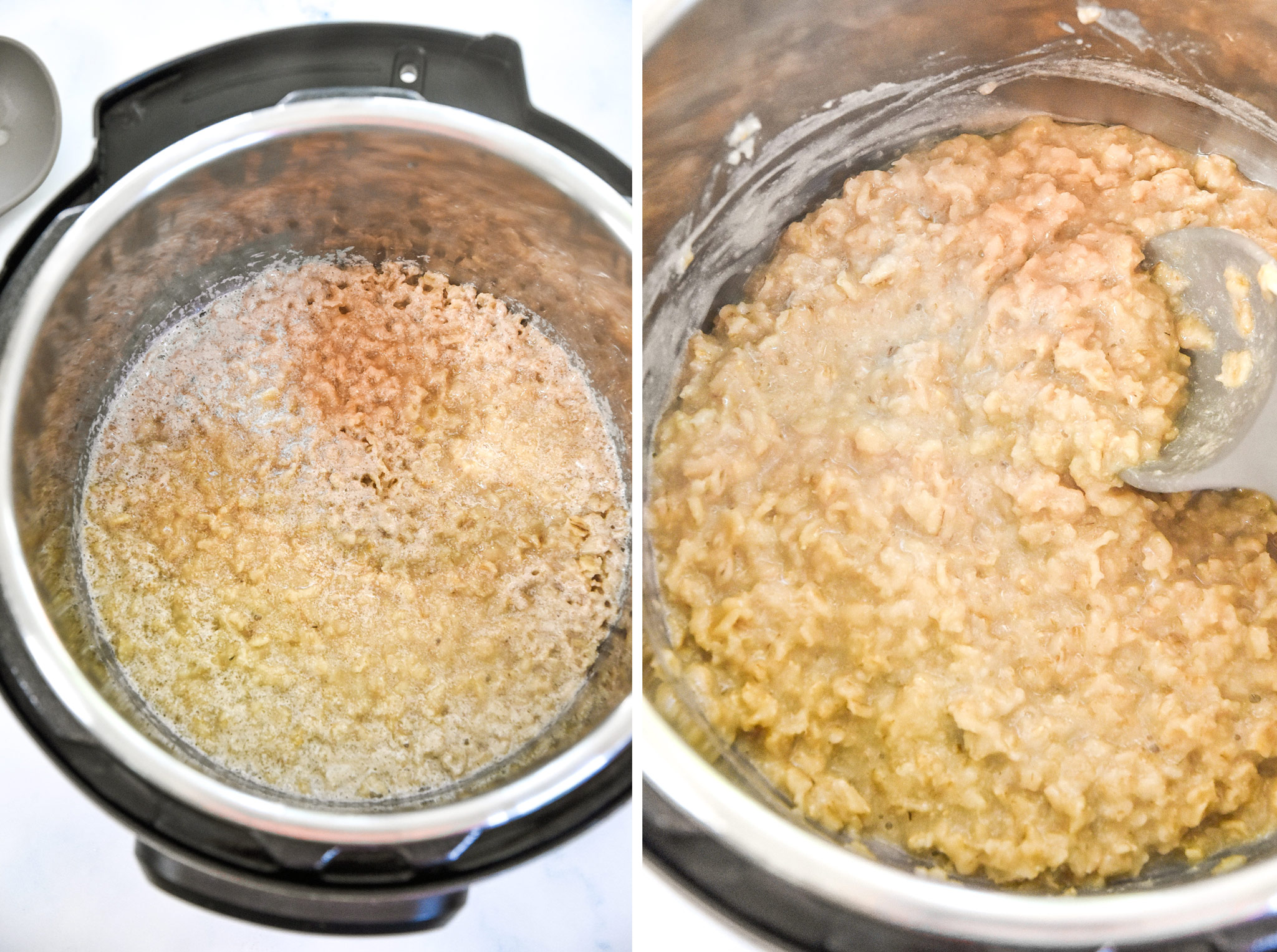 before and after mixing up the cooked instant pot maple brown sugar oatmeal